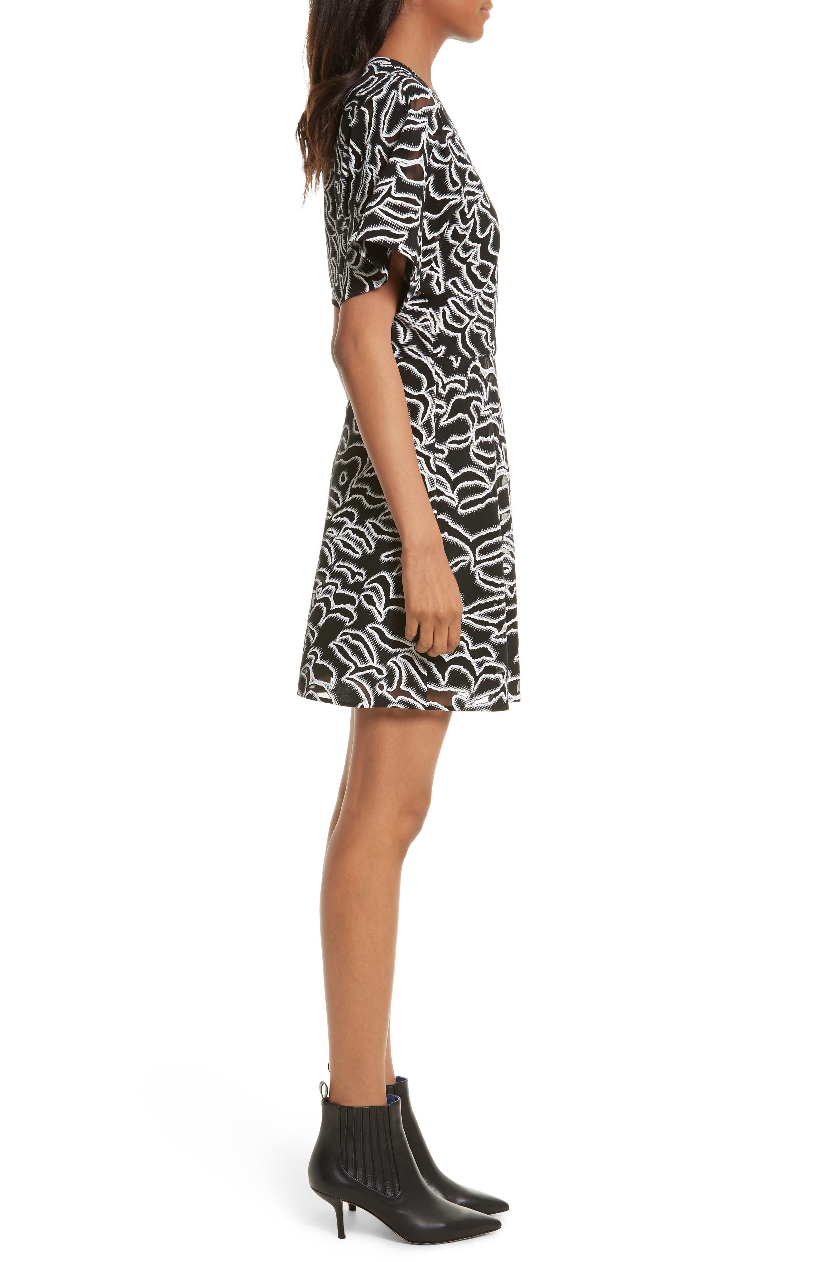 Burnout Print A-Line Wrap Dress,                             Alternate thumbnail 3, color,                             001