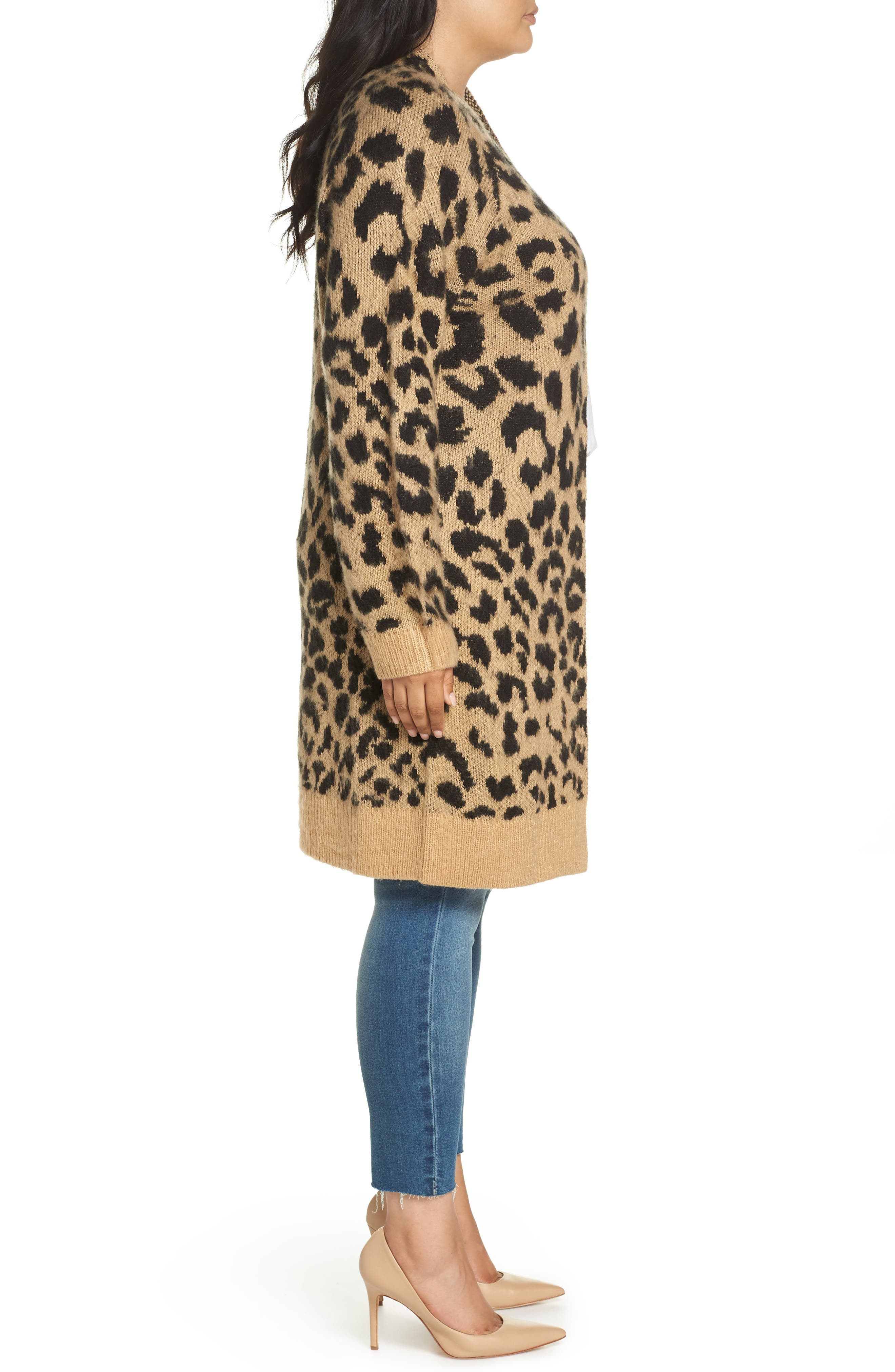 Long Leopard Jacquard Cardigan,                             Alternate thumbnail 9, color,                             260