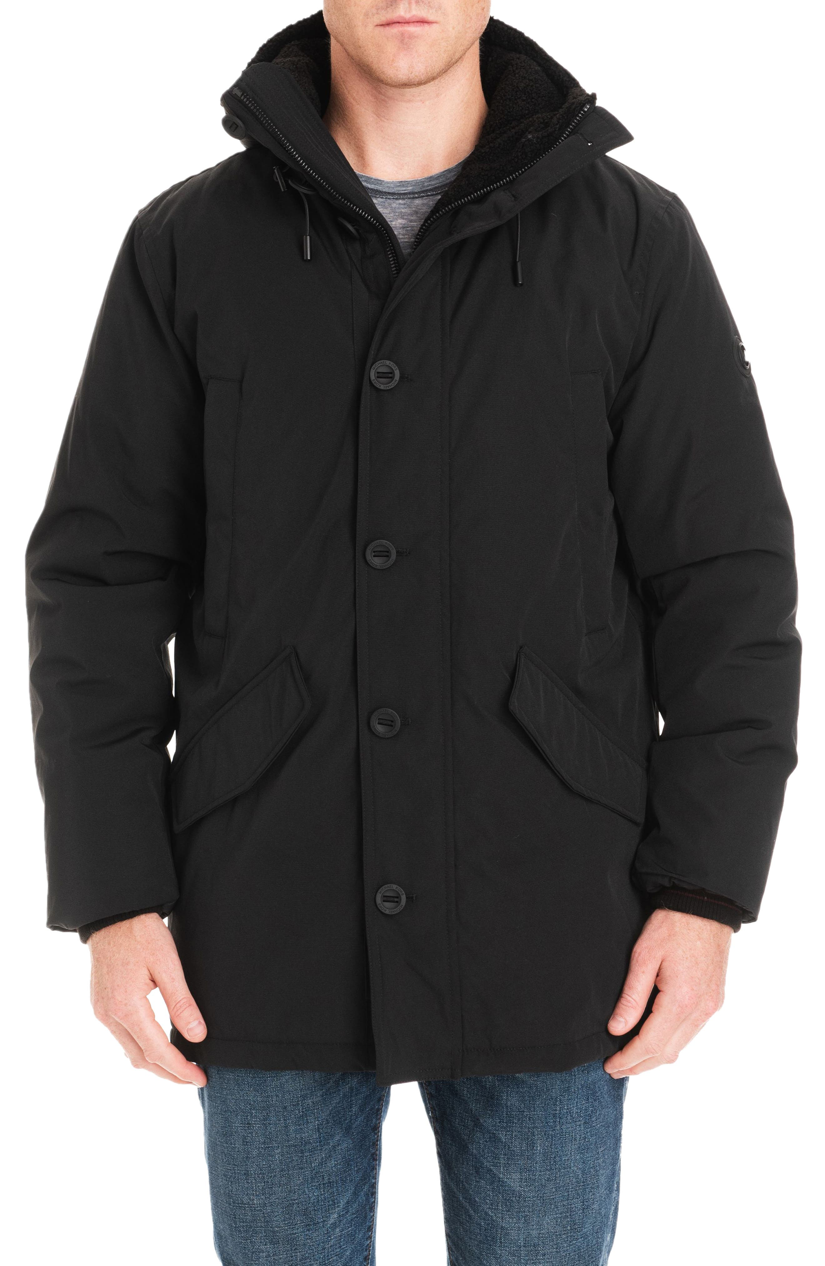 MICHAEL KORS,                             Lafayette Water Resistant Coat with Faux Shearling Lining,                             Main thumbnail 1, color,                             001