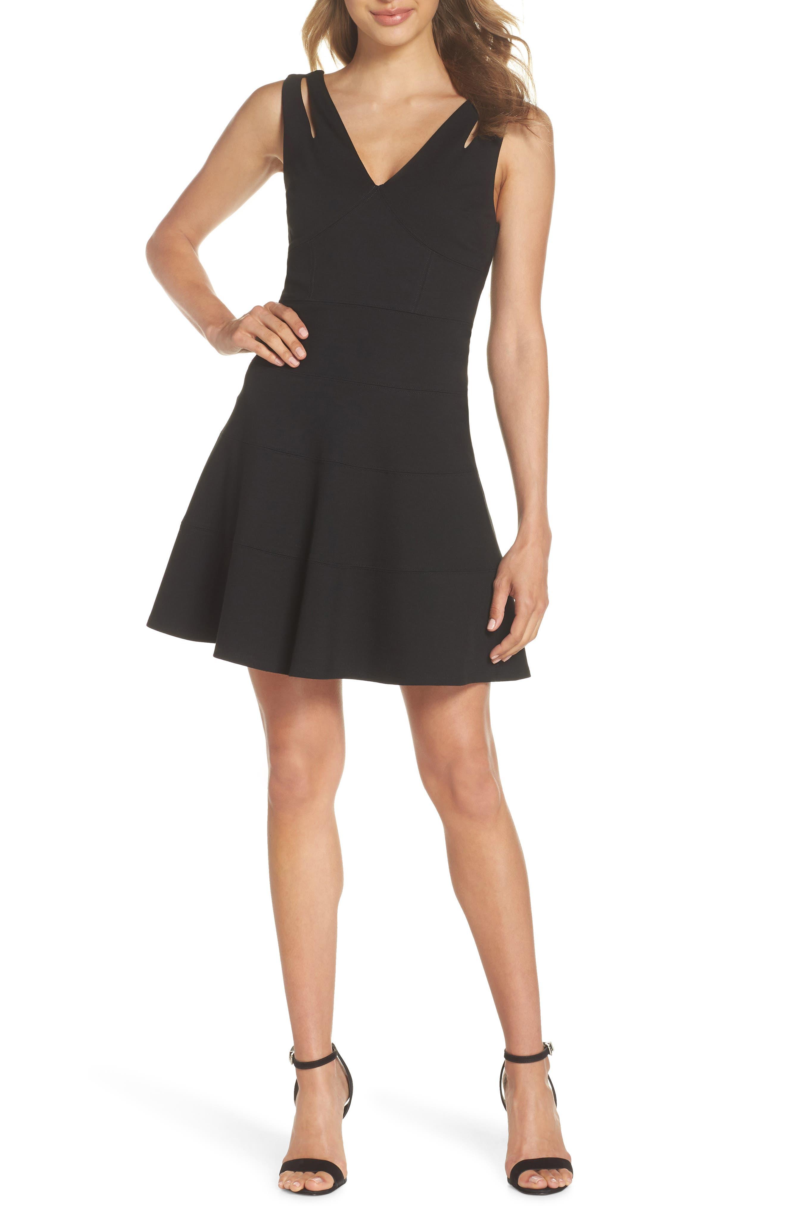Cutout Strap Fit & Flare Dress,                         Main,                         color, 001