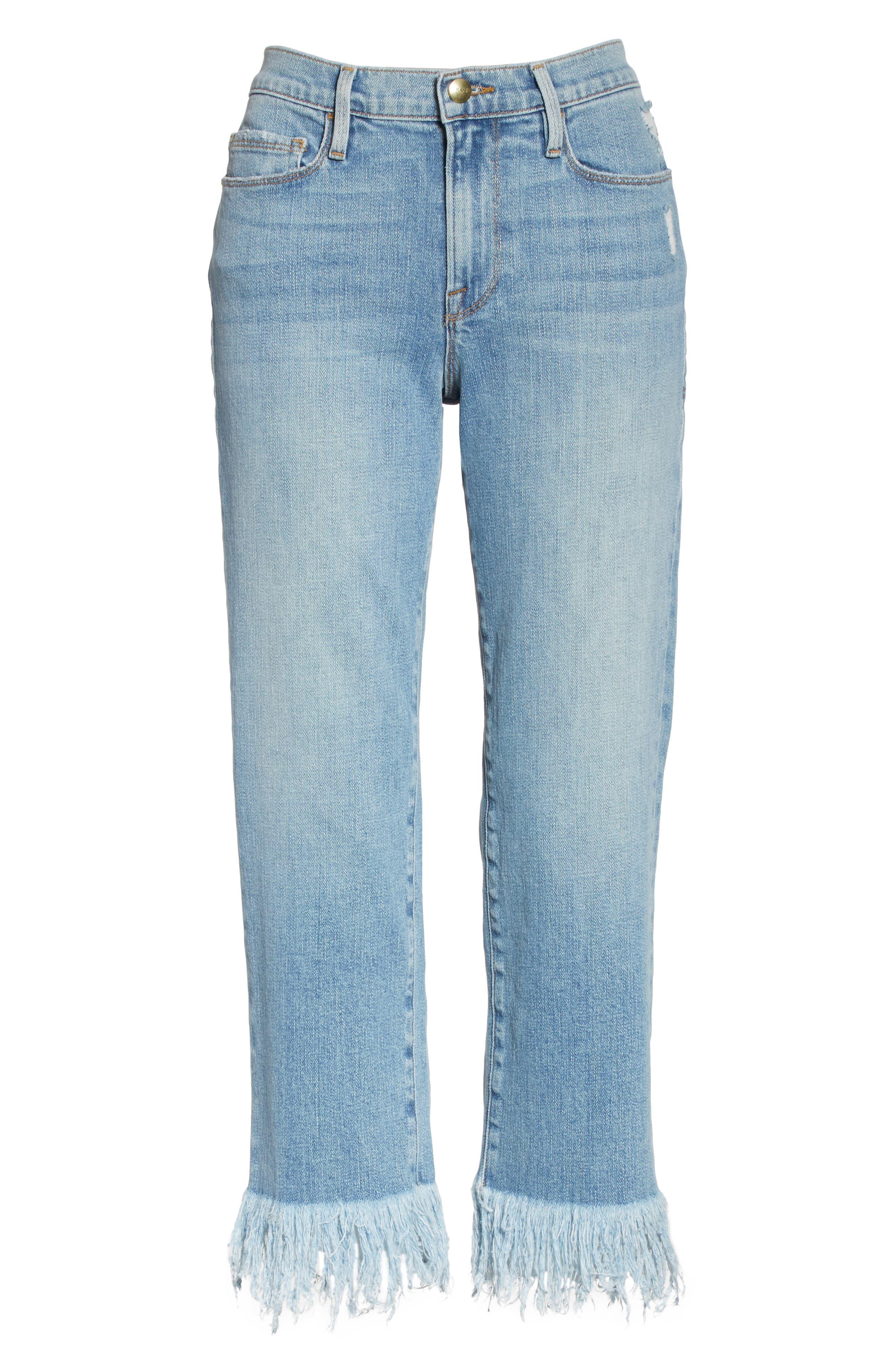 Le Nouveau Shredded Straight Leg Crop Jeans,                             Alternate thumbnail 6, color,                             450