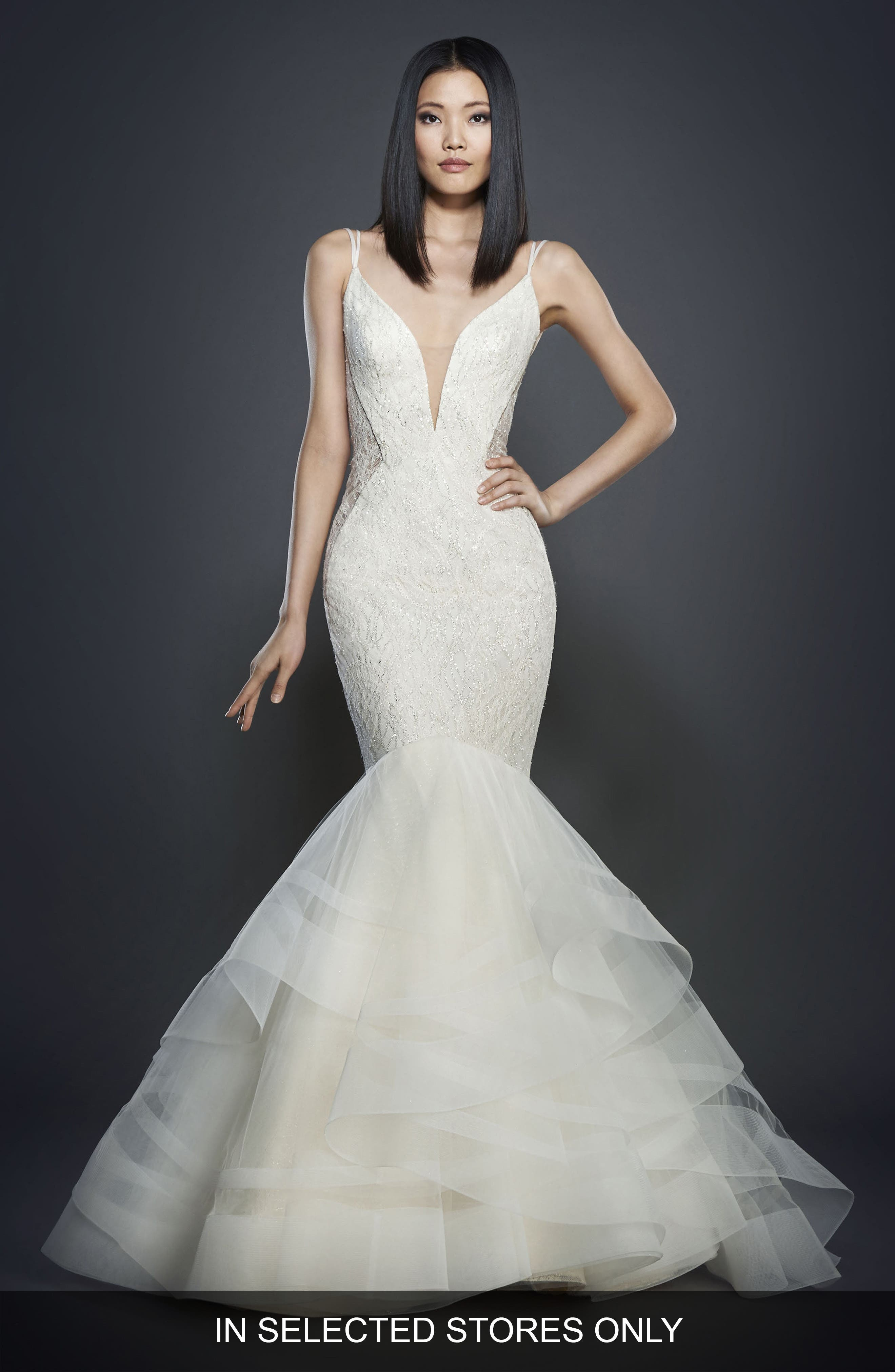 Glitter Embellished Lace Mermaid Gown,                             Main thumbnail 1, color,                             IVORY