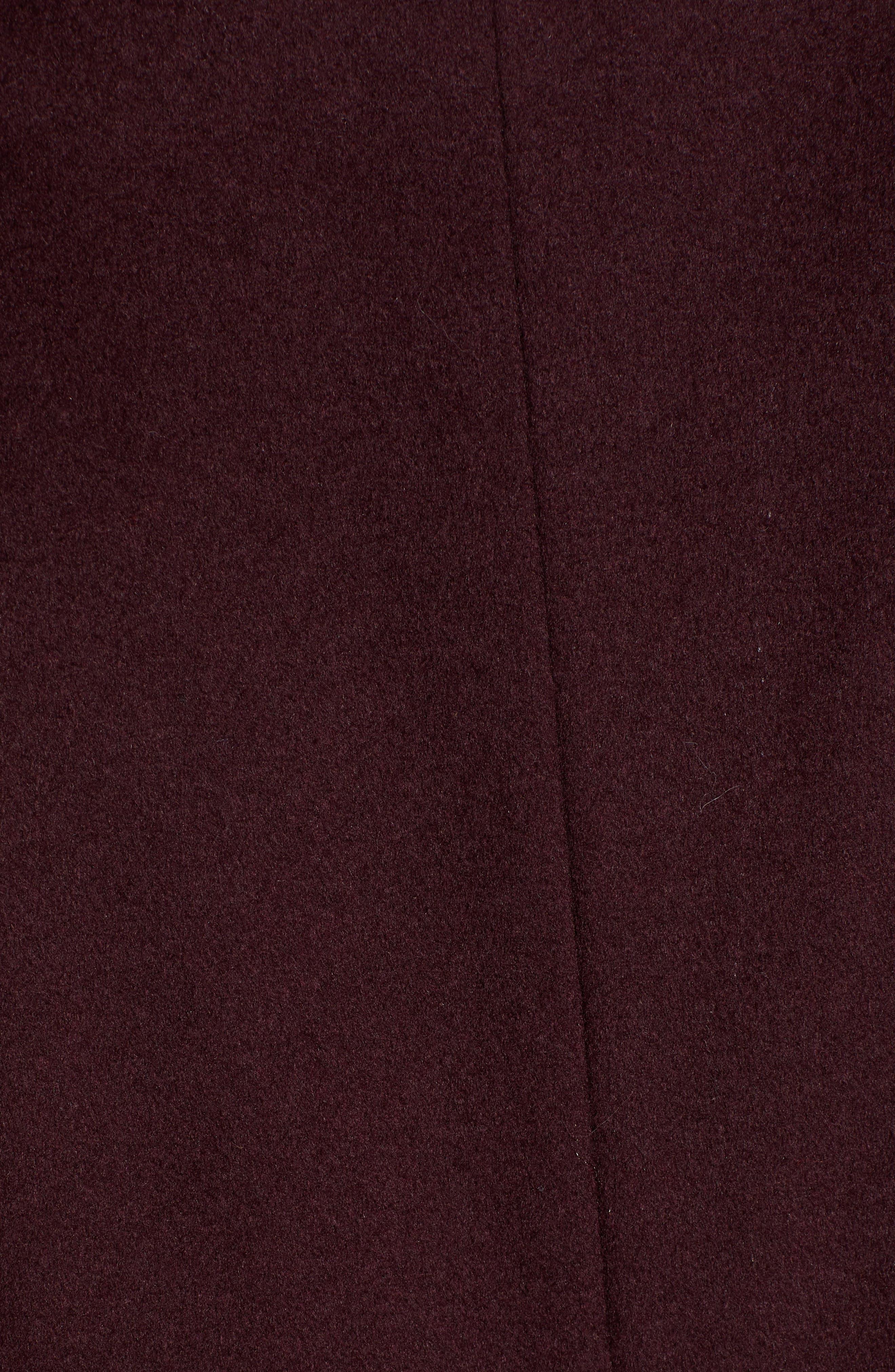 Sara Ruffle Cuff Wool Blend Coat,                             Alternate thumbnail 7, color,                             WINE