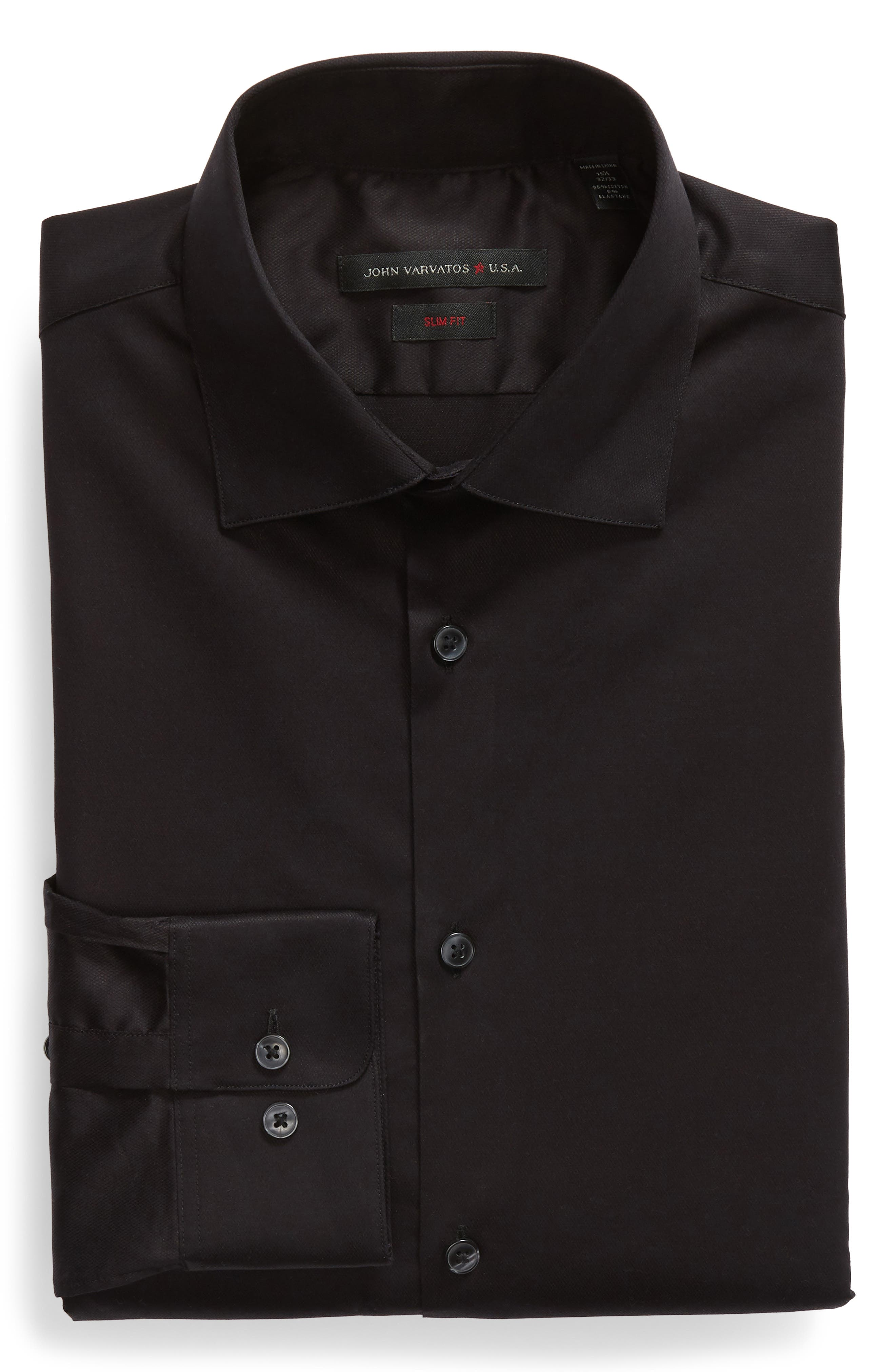 Slim Fit Stretch Solid Dress Shirt,                             Alternate thumbnail 5, color,                             BLACK