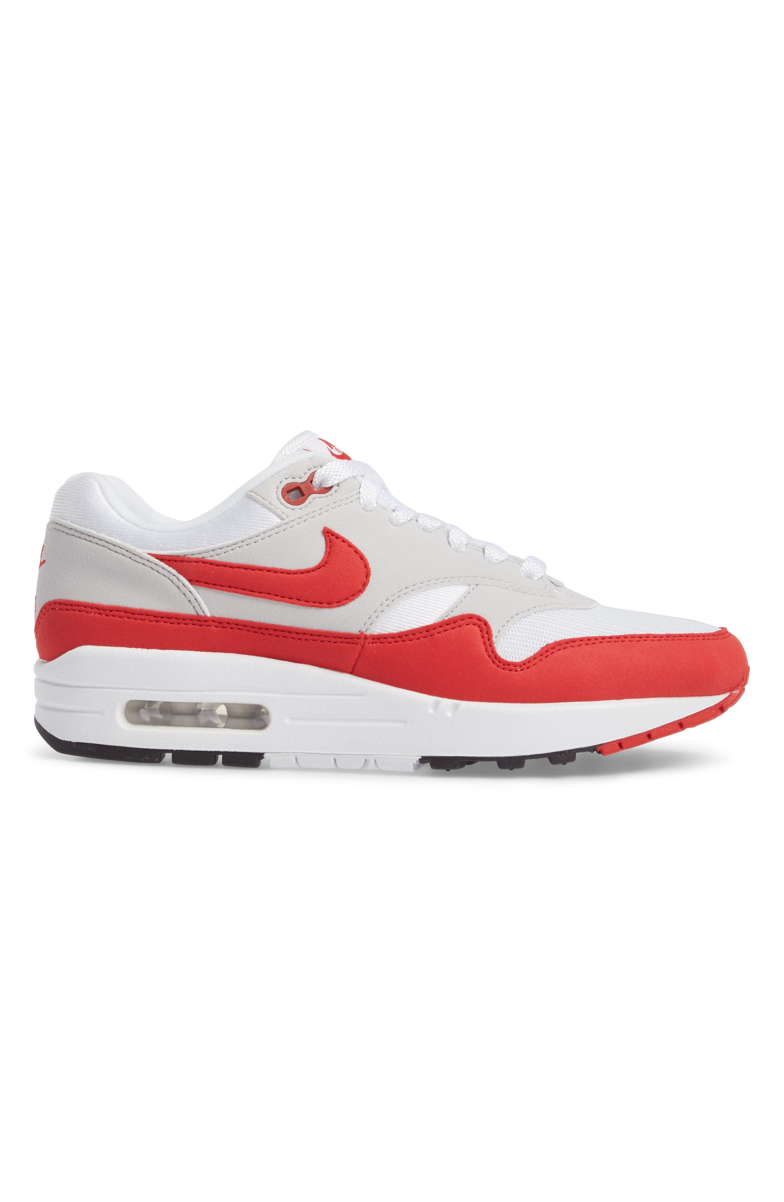 Air Max 1 Anniversary Sneaker,                             Alternate thumbnail 3, color,                             WHITE/ RED/ GREY/ BLACK