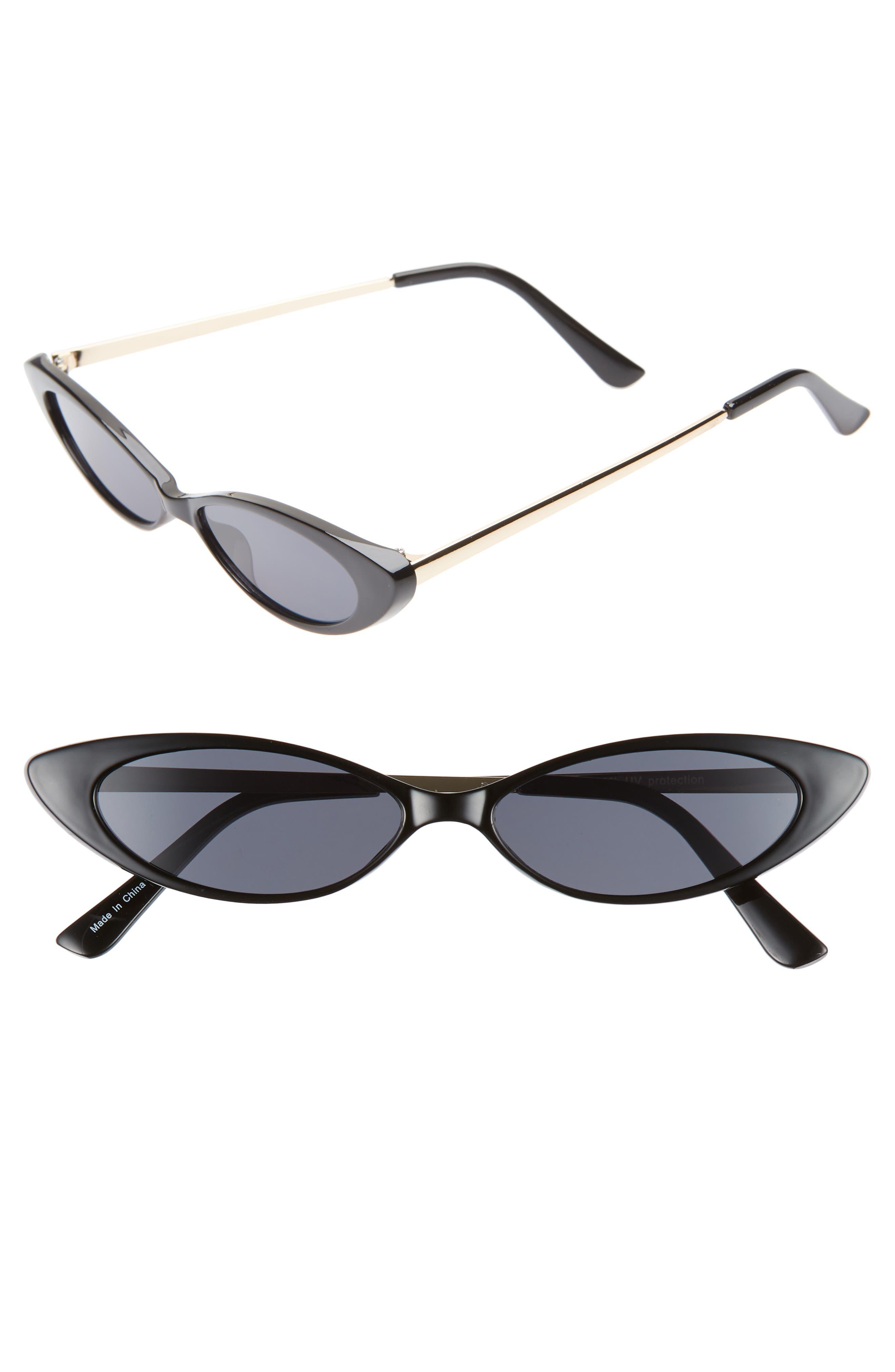 Metal & Plastic Mini Cat Eye Sunglasses, Main, color, BLACK/ GOLD