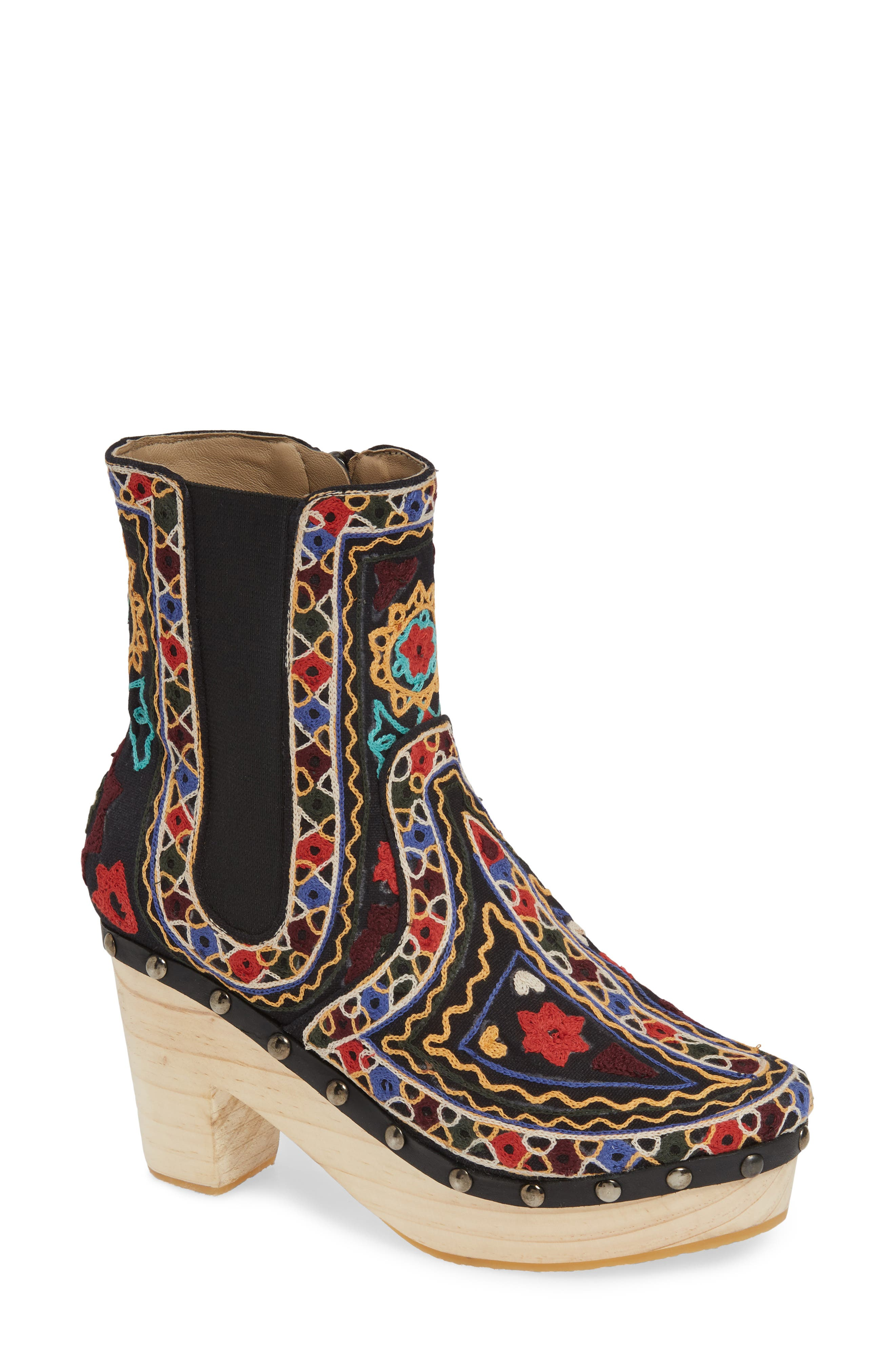 FREE PEOPLE,                             West Johanna Clog Bootie,                             Main thumbnail 1, color,                             BLACK EMBROIDERED FABRIC