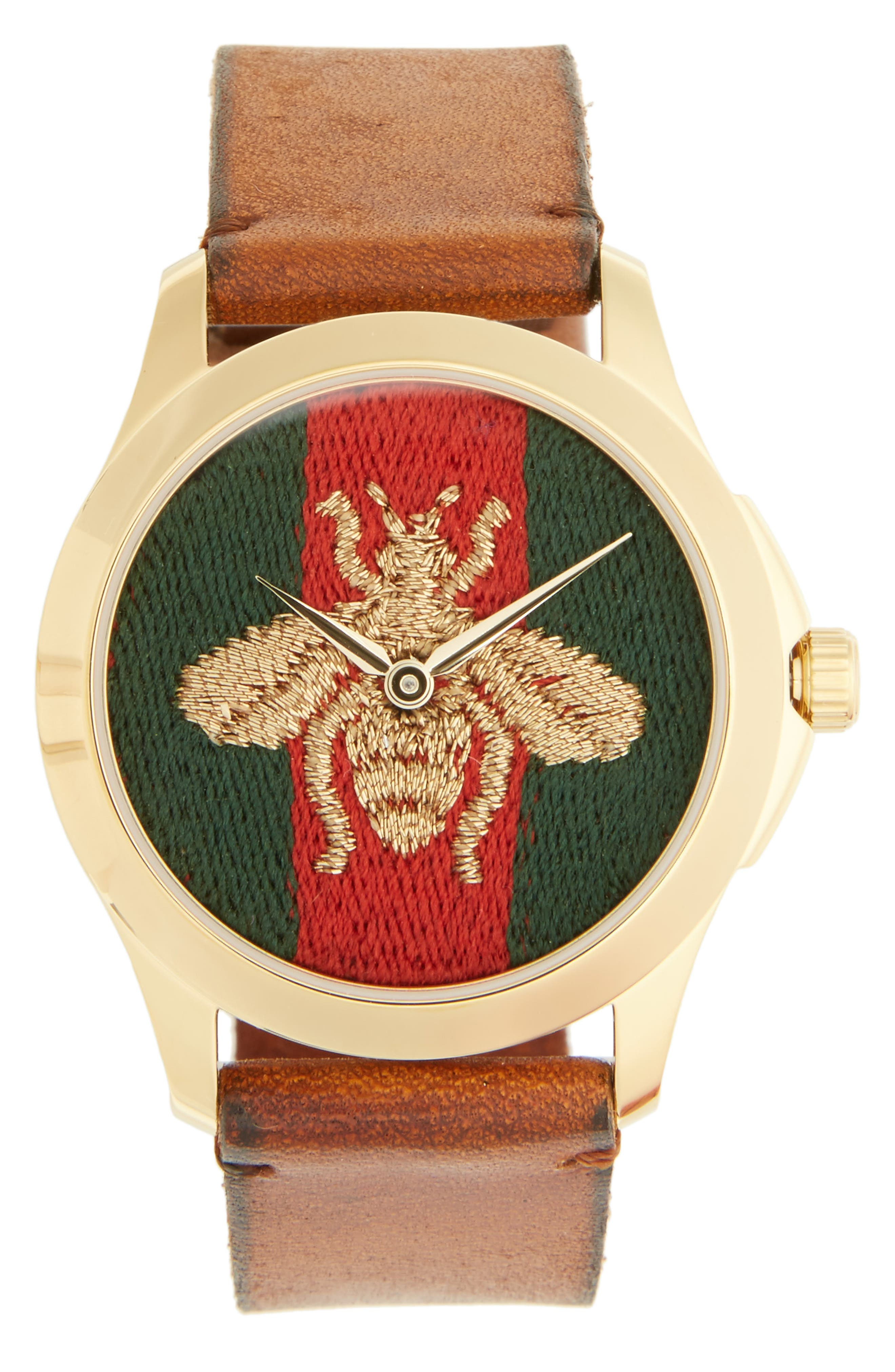 Bee Insignia Leather Strap Watch, 43mm,                         Main,                         color, BROWN