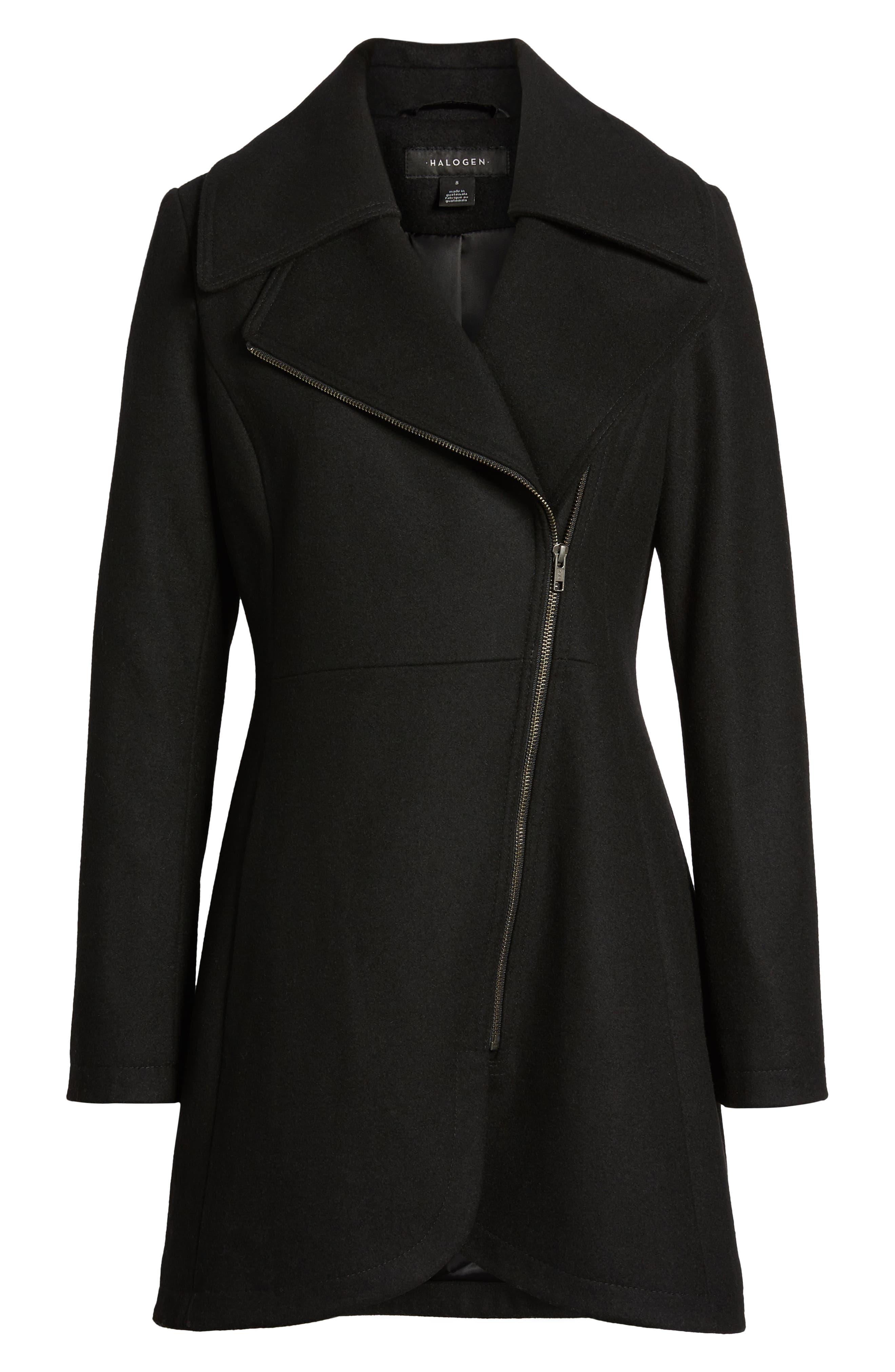 Asymmetrical Zip Wool Blend Coat,                             Alternate thumbnail 6, color,                             001