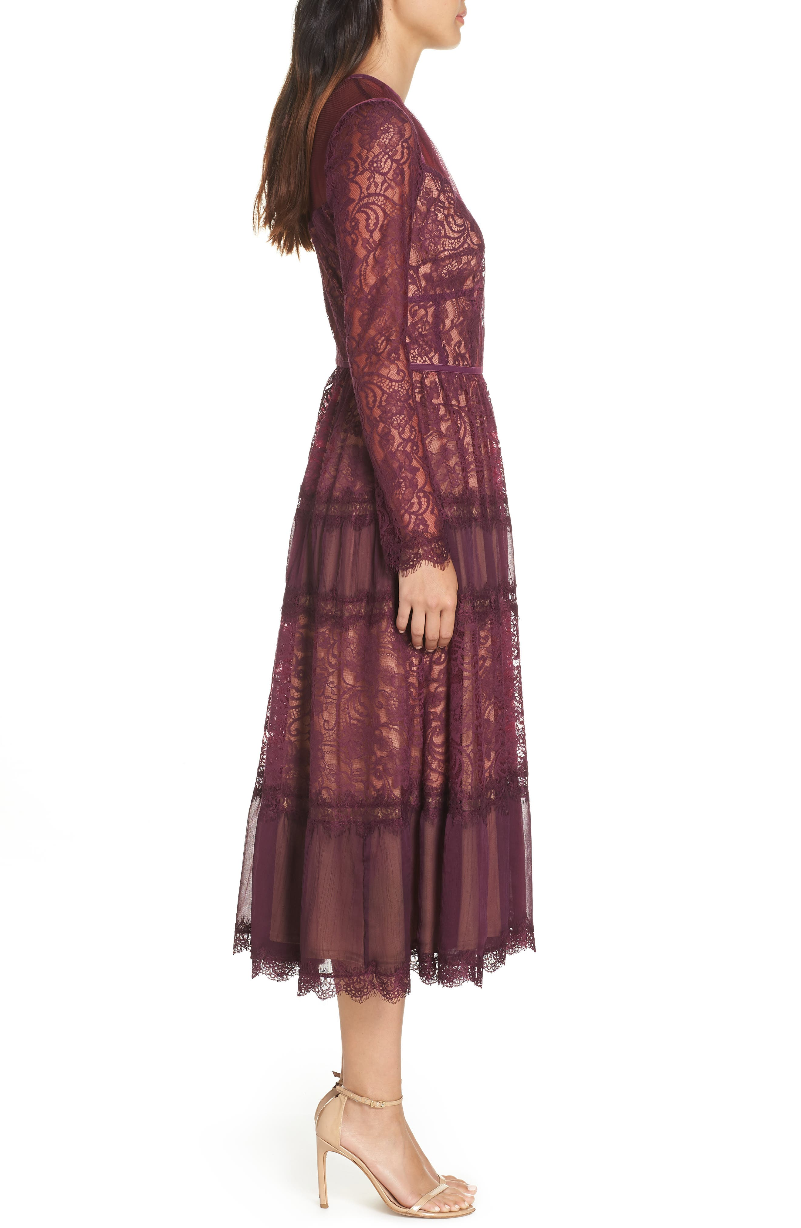 Embroidered Lace Dress,                             Alternate thumbnail 3, color,                             DEWBERRY/ NUDE