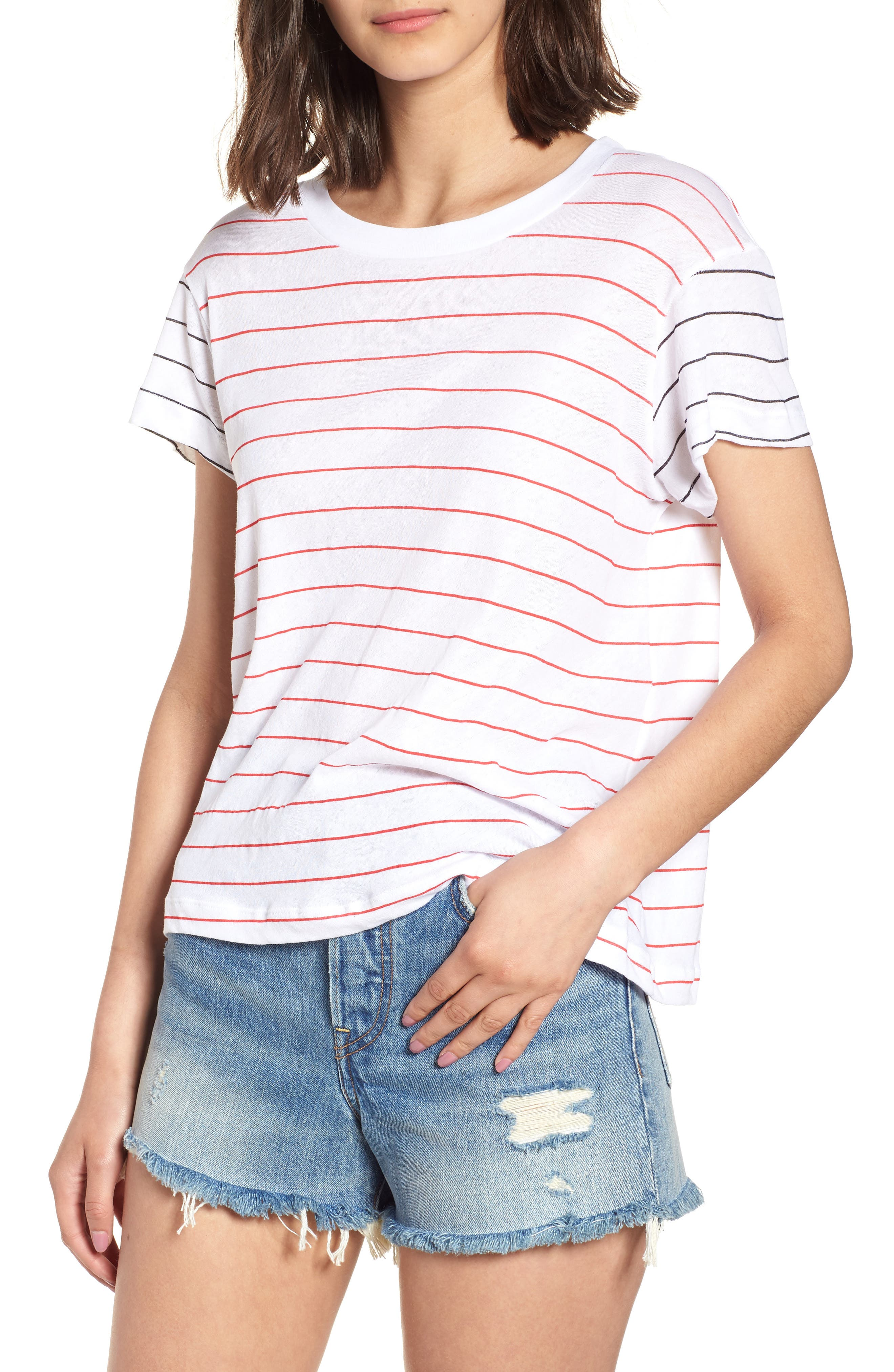Simple Stripe Tee,                             Main thumbnail 1, color,                             100