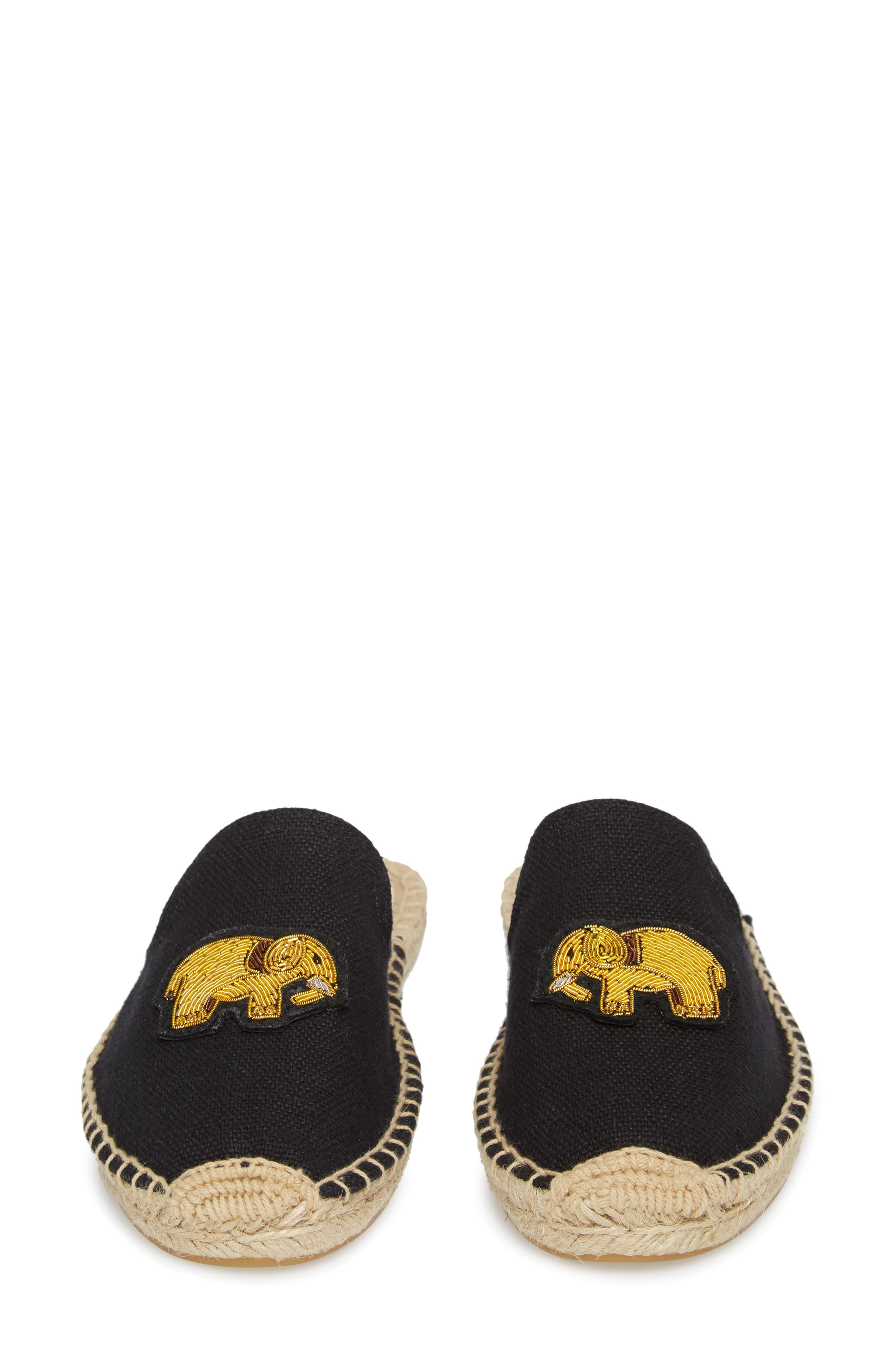 Elephant Beaded Espadrille Mule,                             Alternate thumbnail 5, color,                             001