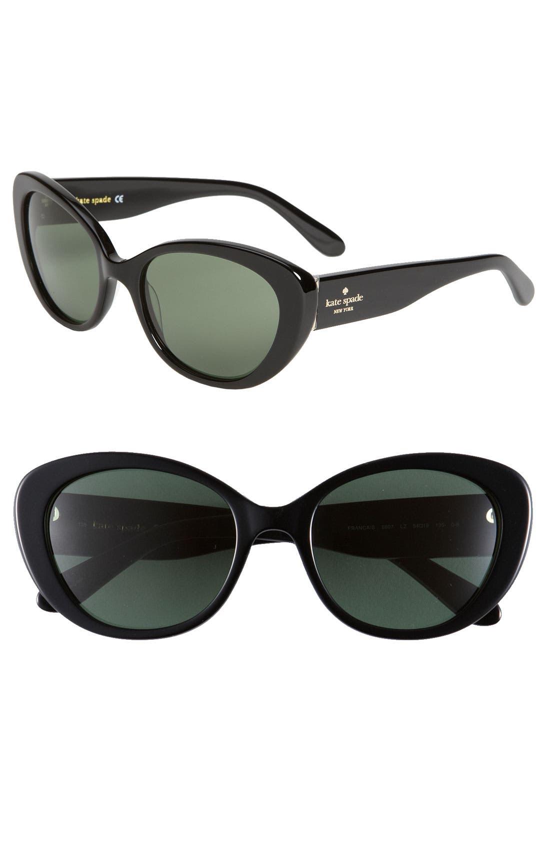 'franca' 54mm cat's eye sunglasses,                         Main,                         color, 001