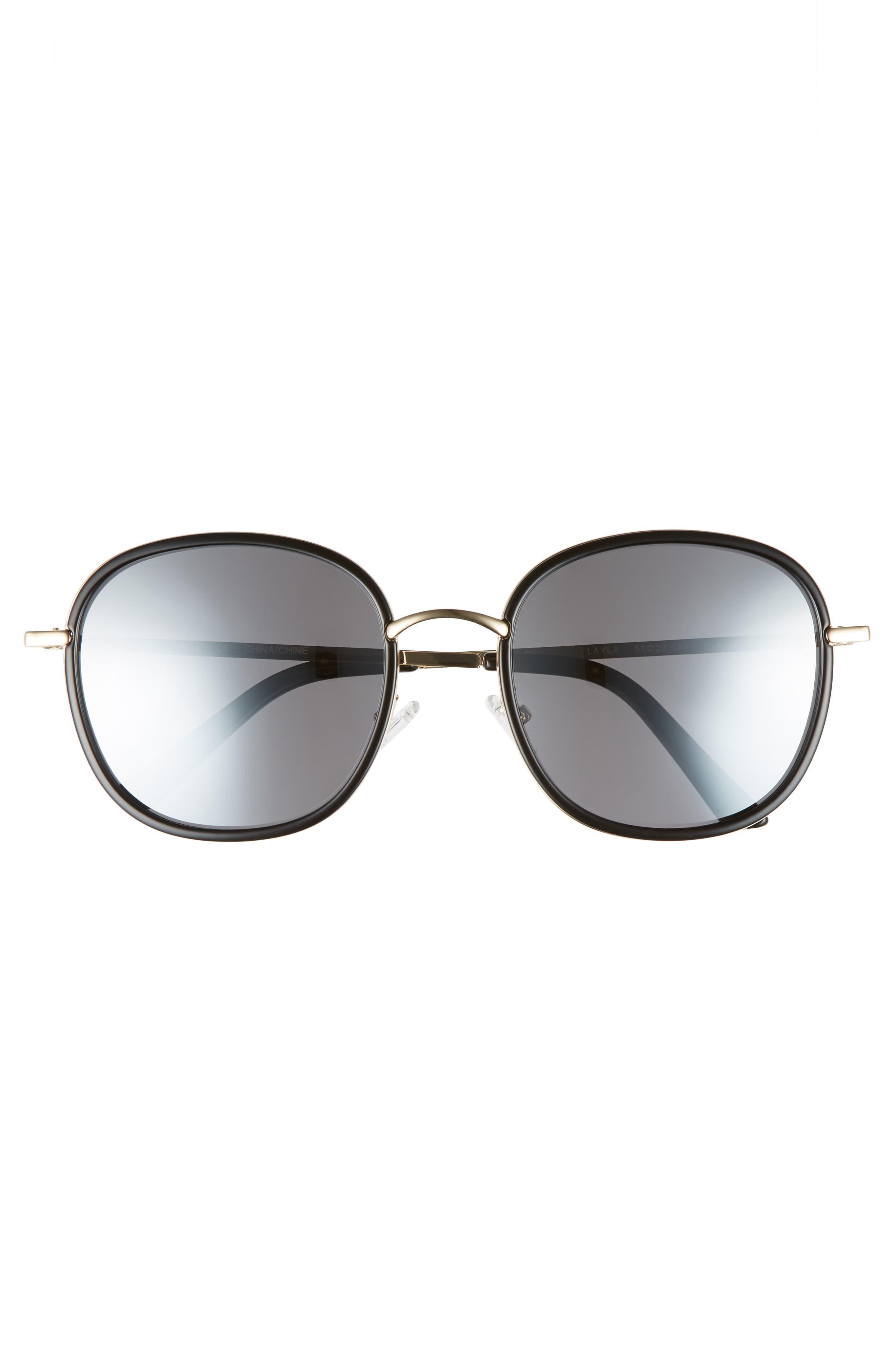 Layla 58mm Sunglasses,                             Alternate thumbnail 3, color,                             BLACK