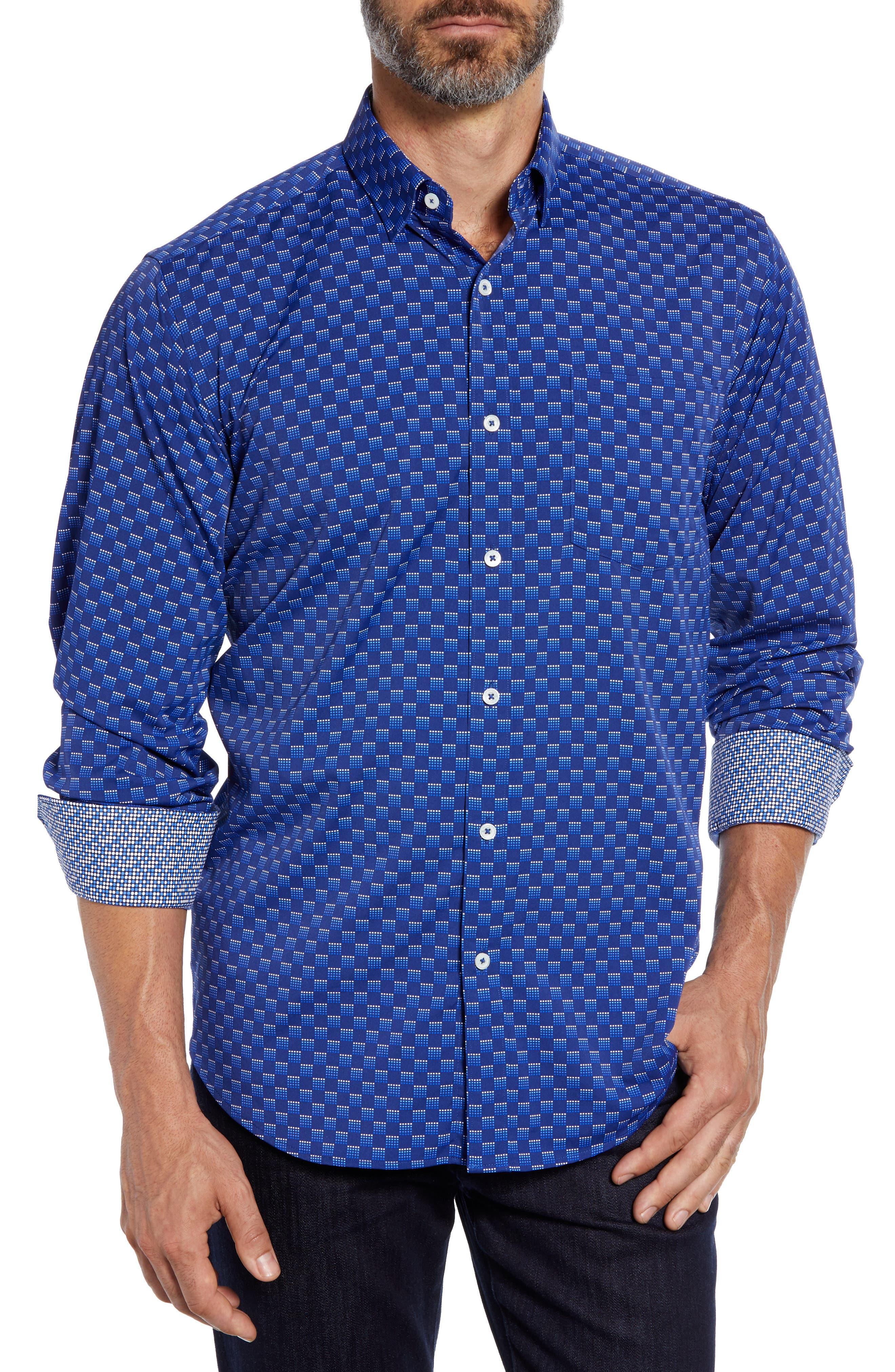 Classic Fit Print Performance Sport Shirt,                         Main,                         color, NIGHT BLUE