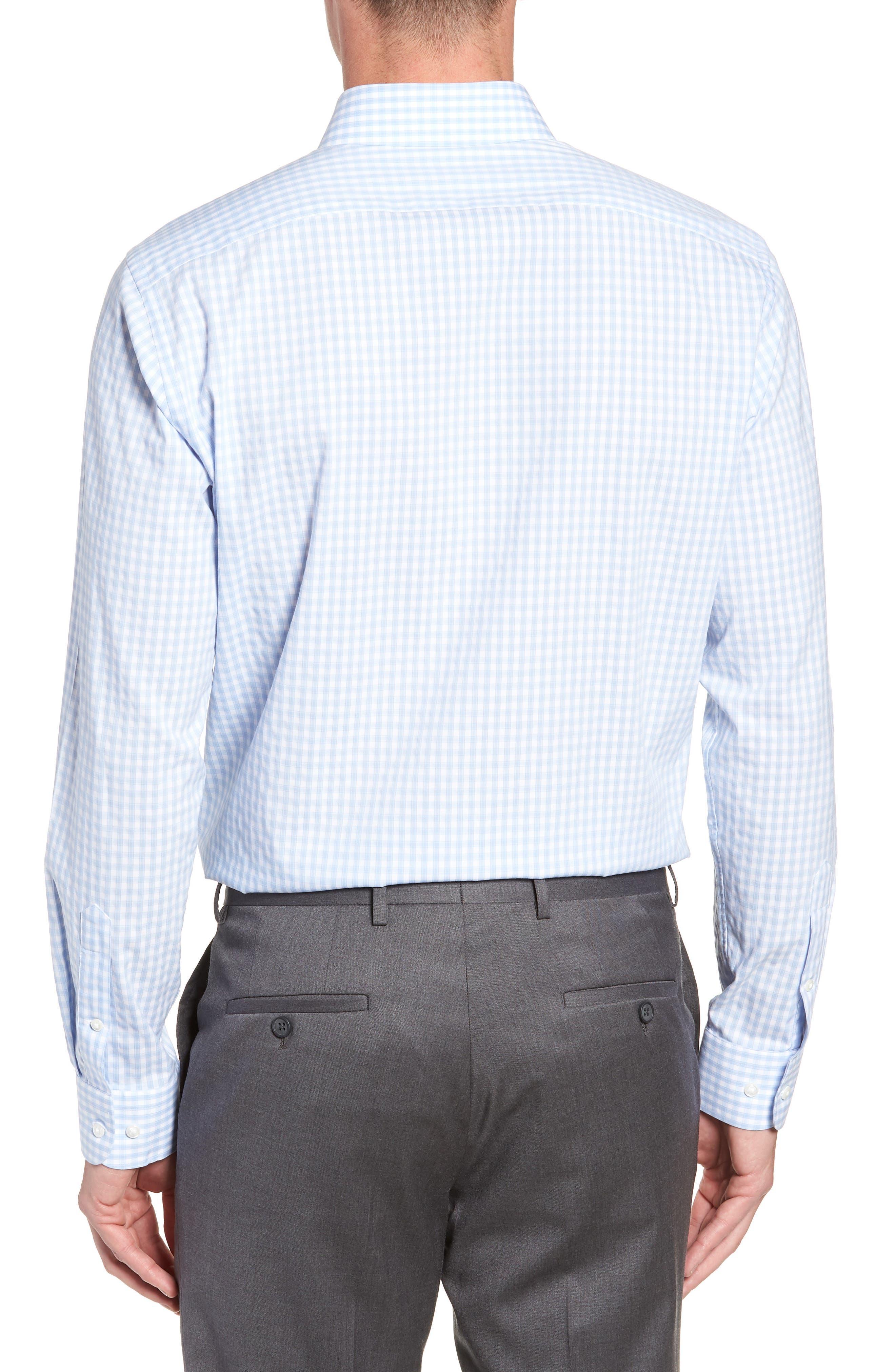 Tech-Smart Trim Fit Stretch Check Dress Shirt,                             Alternate thumbnail 3, color,                             BLUE BRUNNERA