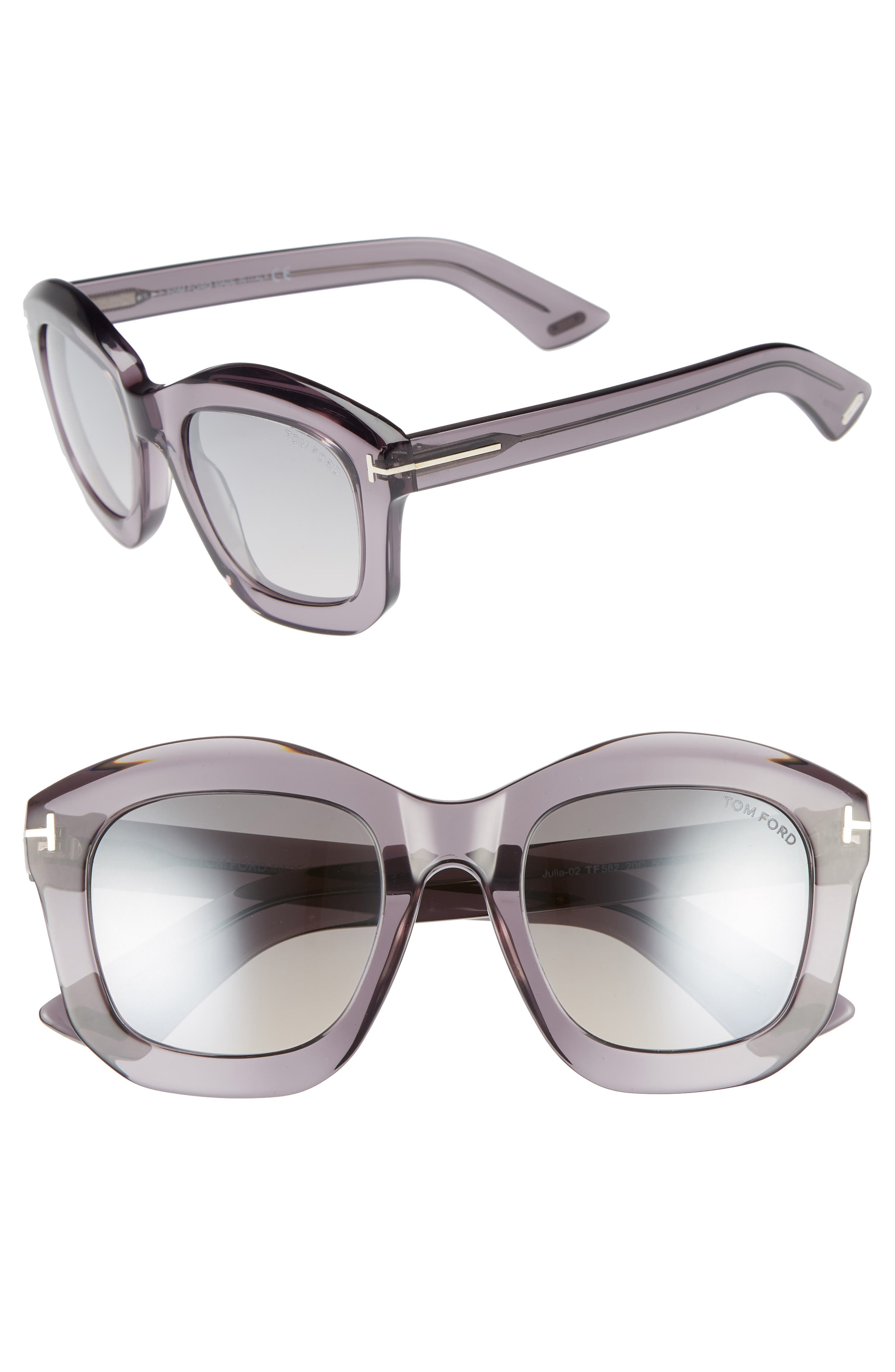 Tom Ford Julia 50Mm Gradient Square Sunglasses - Grey Acetate/ Palladium