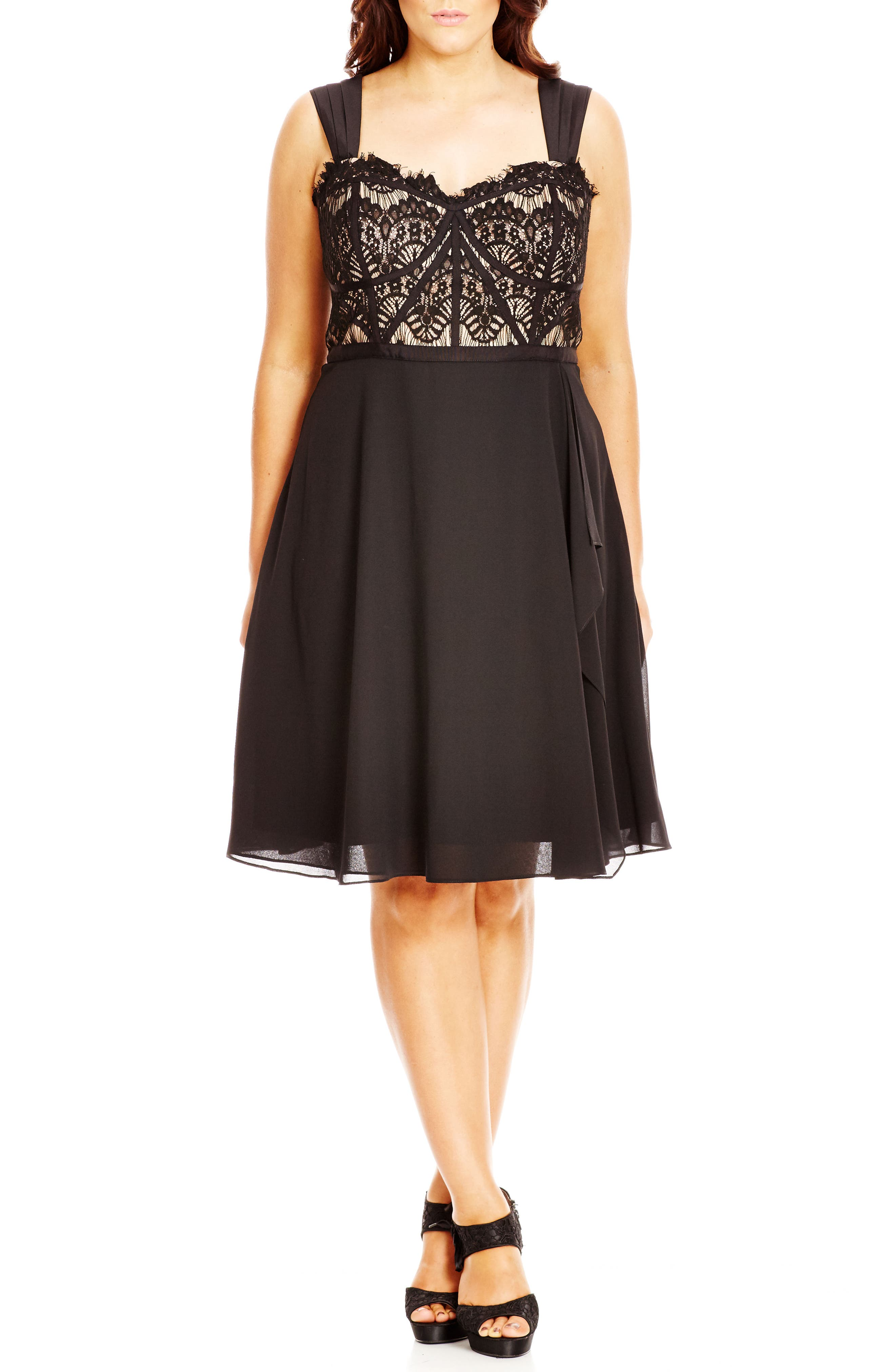 'Eyelash Evie' Lace & Chiffon Cocktail Dress,                             Alternate thumbnail 2, color,                             BLACK