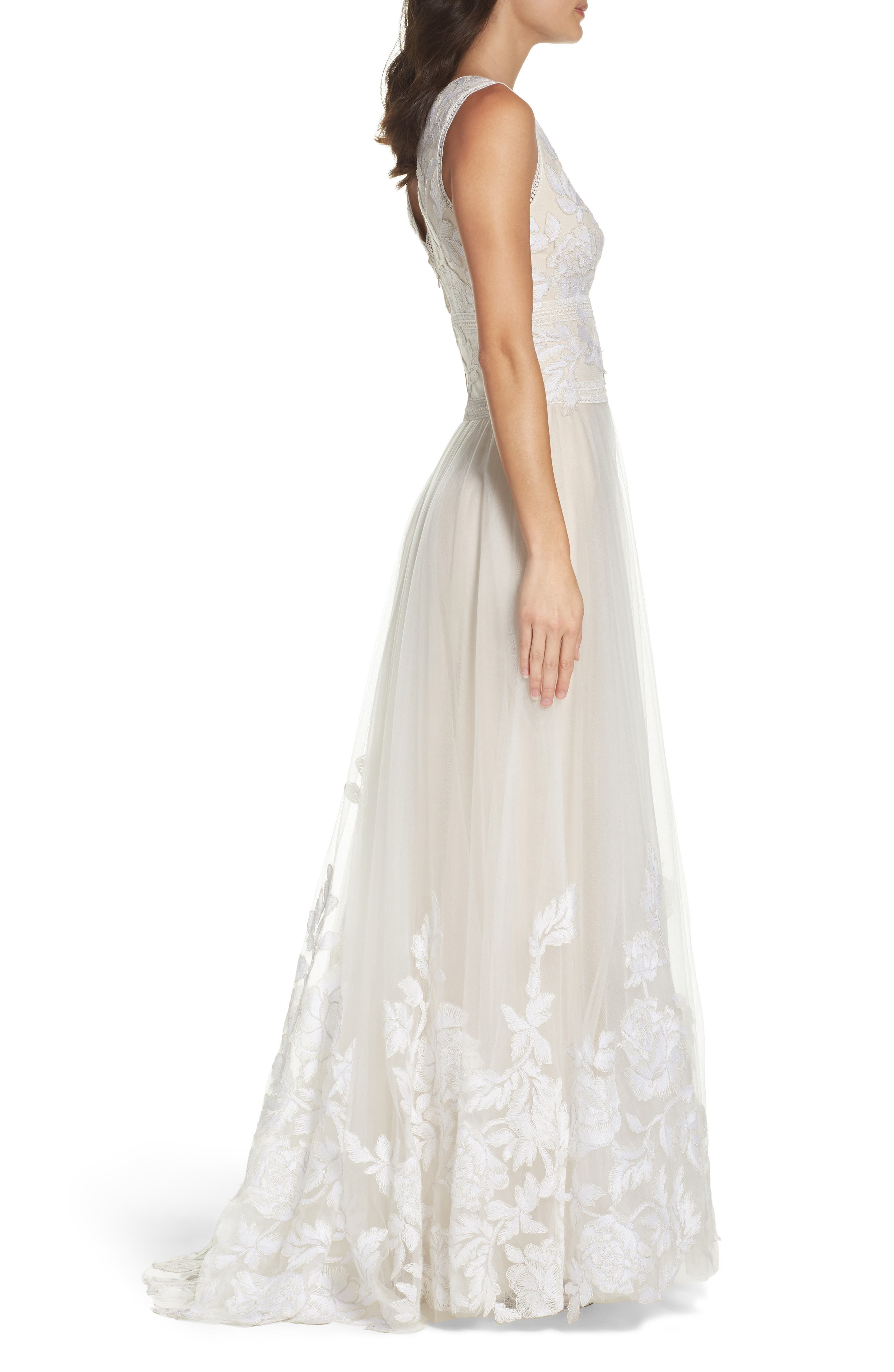 Tulle Lace A-Line Gown,                             Alternate thumbnail 3, color,                             IVORY/ PETAL