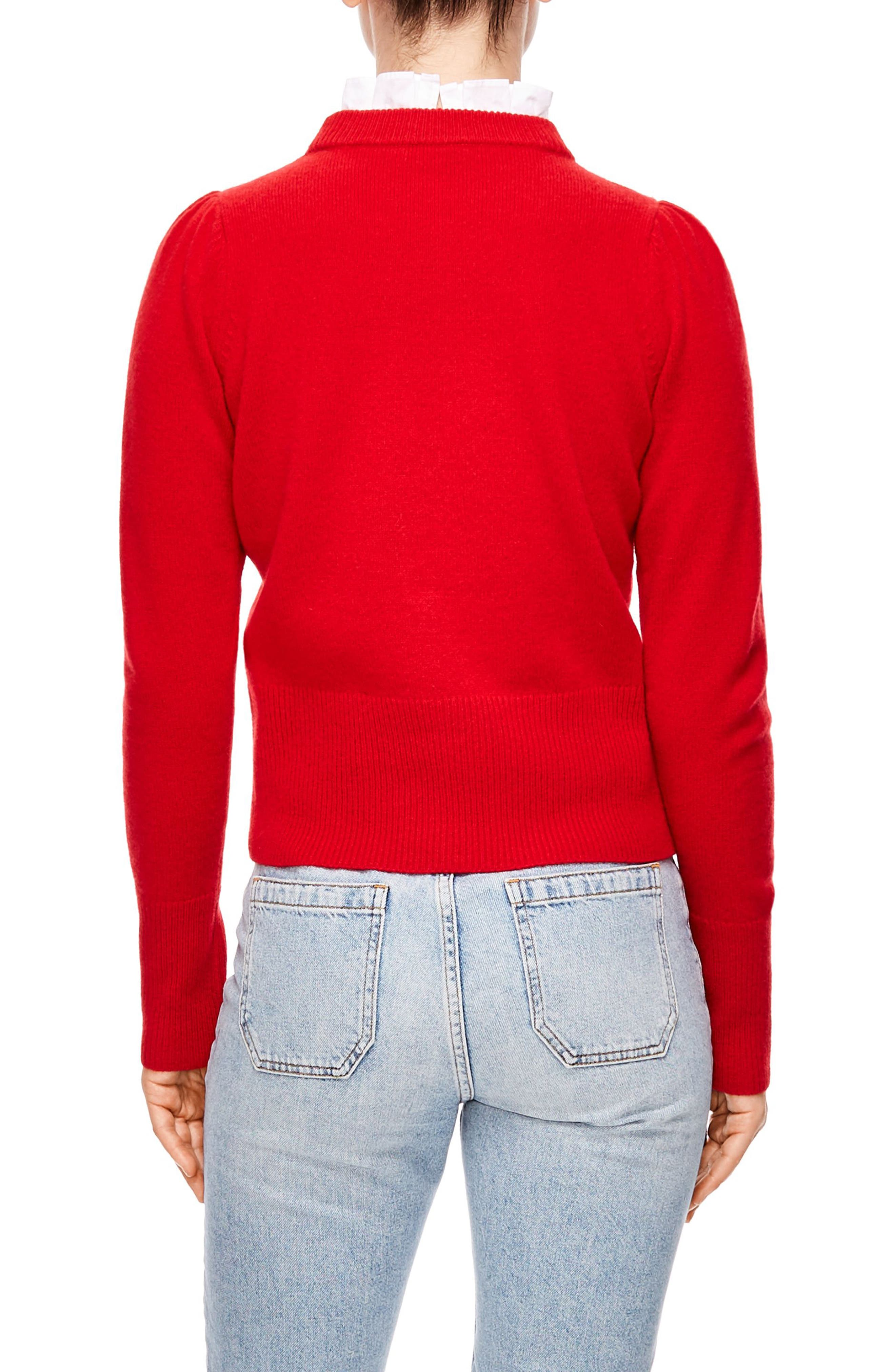 Tie Ruffle Neck Sweater,                             Alternate thumbnail 2, color,                             RED