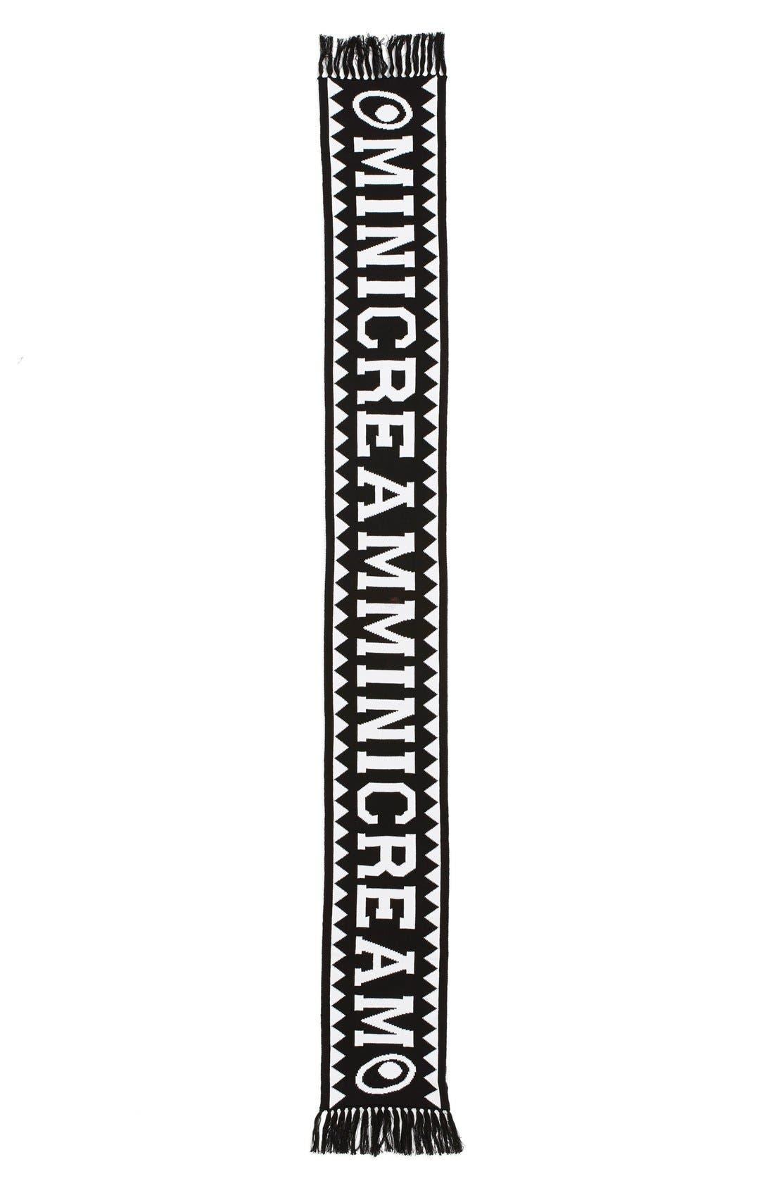 Reversible Fringed Logo Scarf,                             Alternate thumbnail 3, color,                             001
