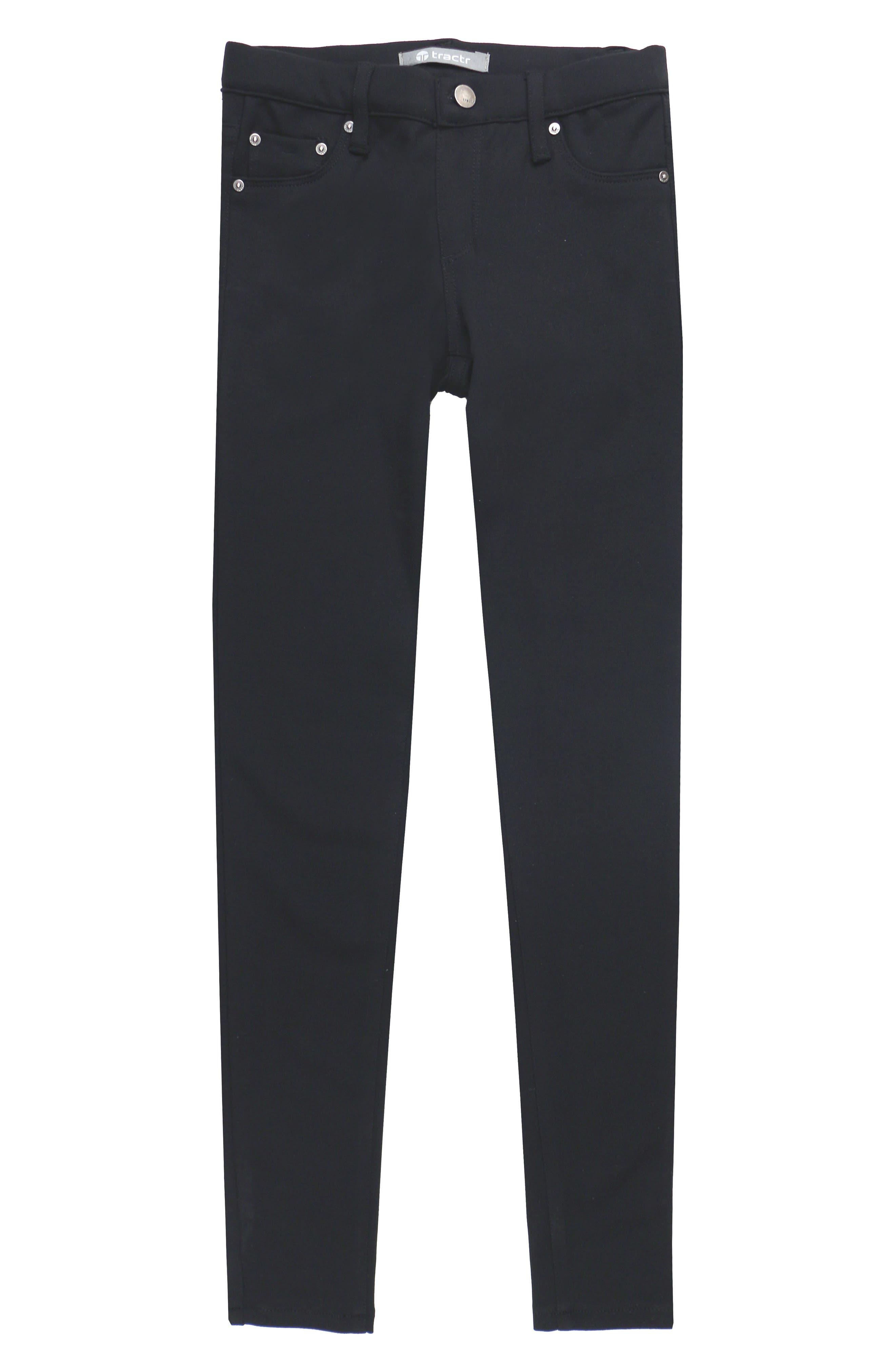 Ponte Knit Skinny Jeans,                             Main thumbnail 1, color,                             BLACK