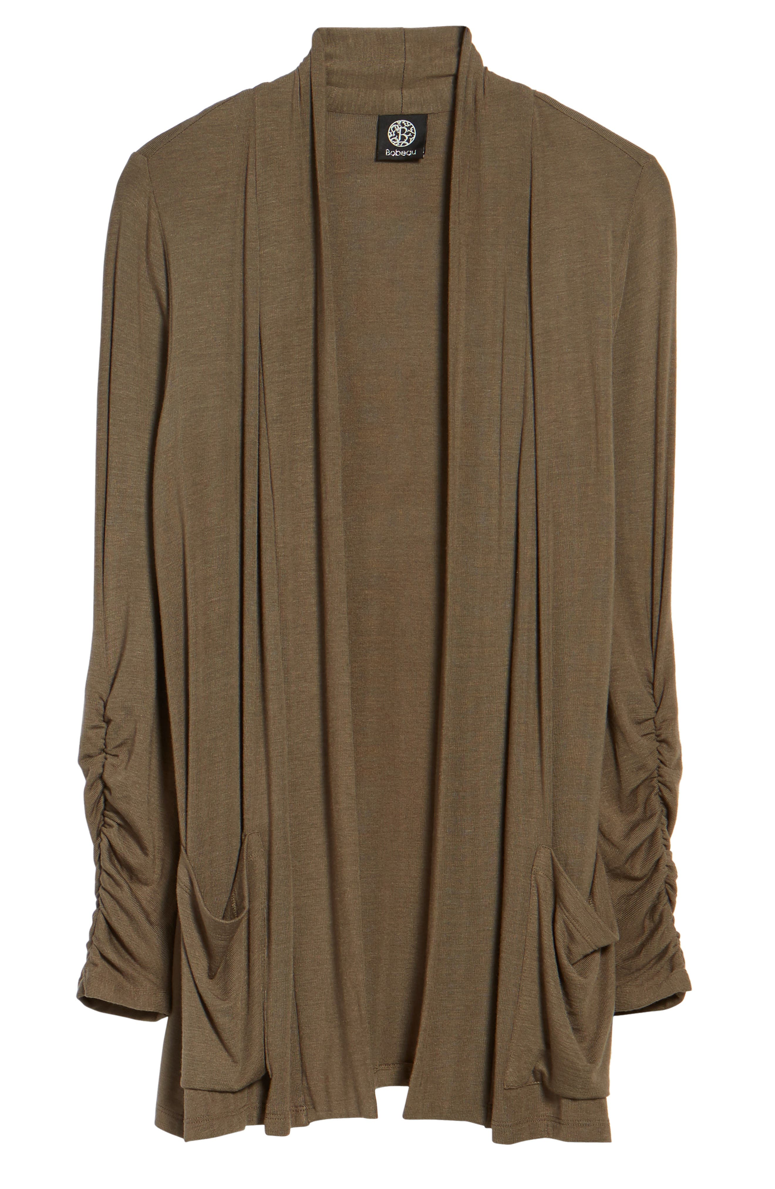 Ruched Sleeve Cardigan,                             Alternate thumbnail 7, color,                             OLIVE