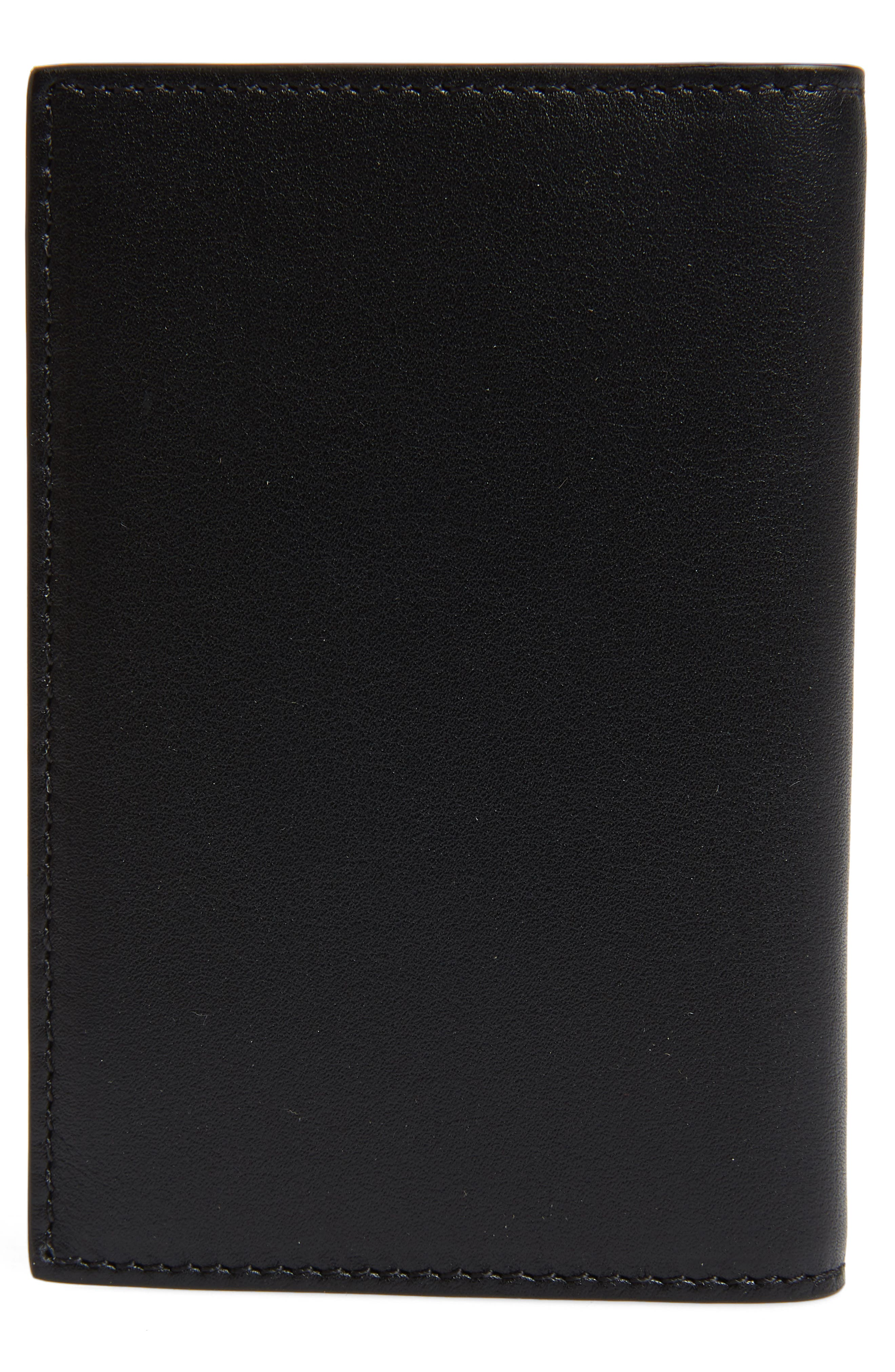 Bifold Leather Card Case,                             Alternate thumbnail 3, color,                             BLACK