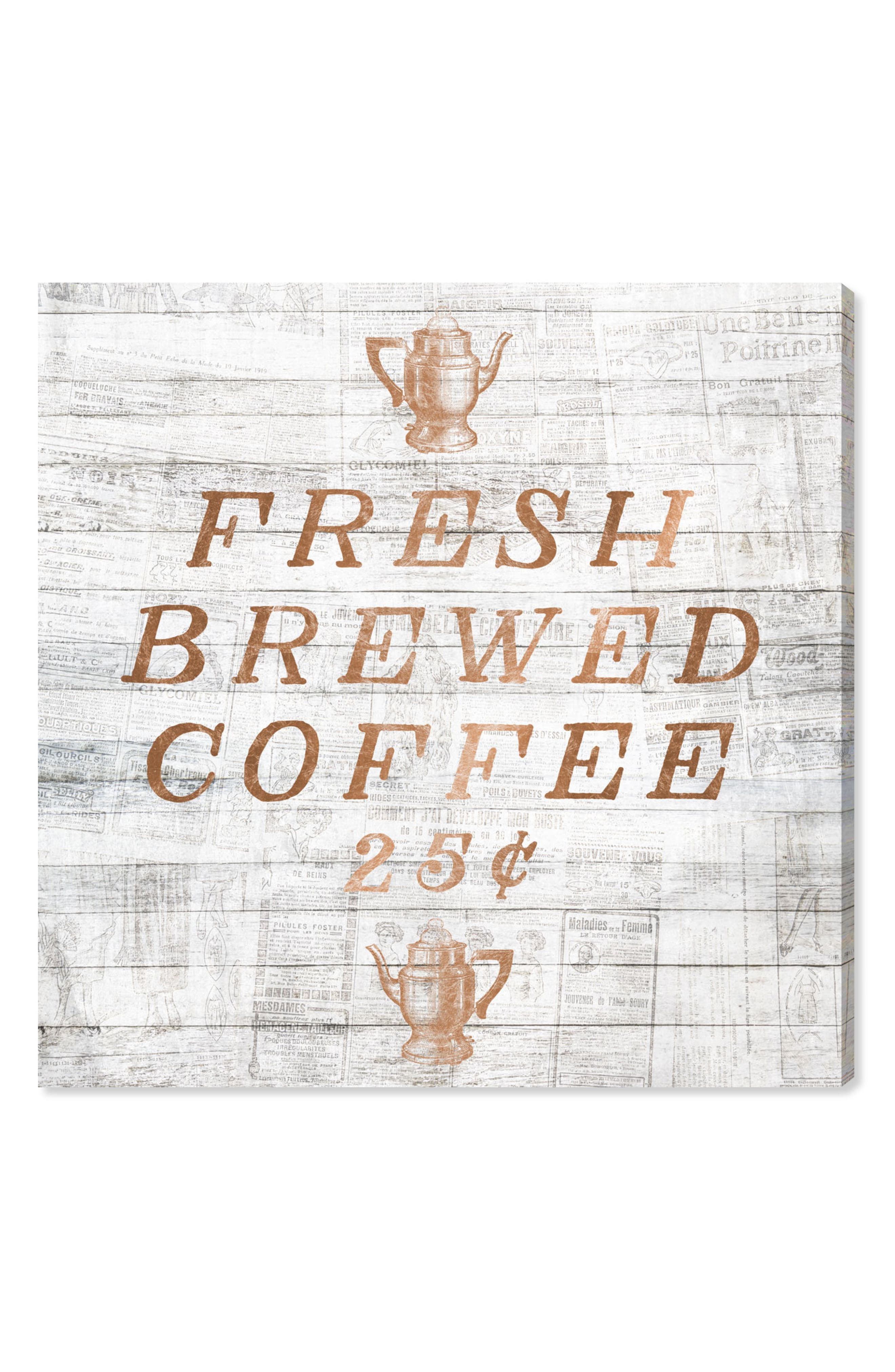 Fresh Brewed Coffee Canvas Wall Art,                         Main,                         color,