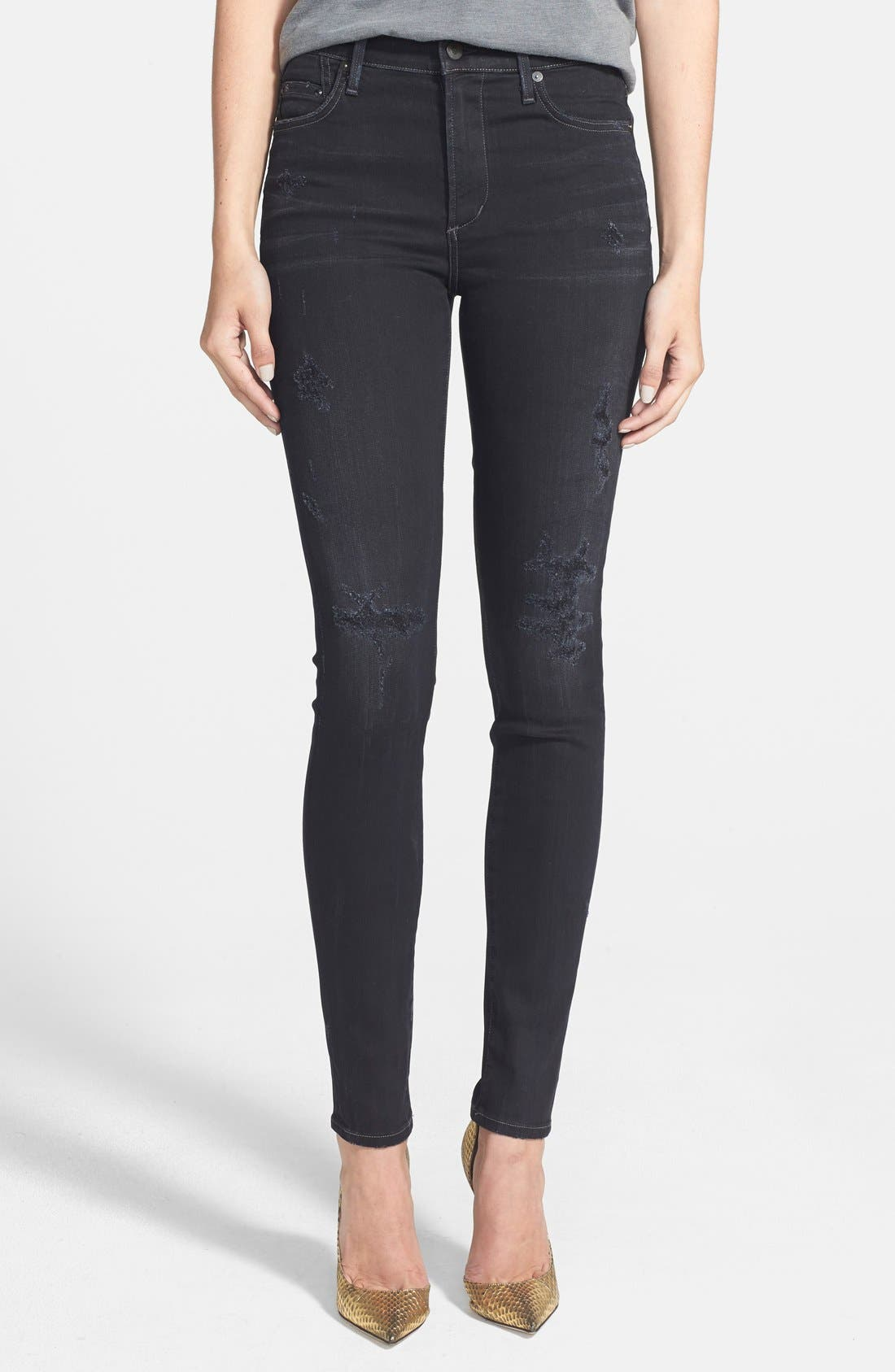 CITIZENS OF HUMANITY Rocket Distressed High Waist Skinny Jeans, Main, color, 409
