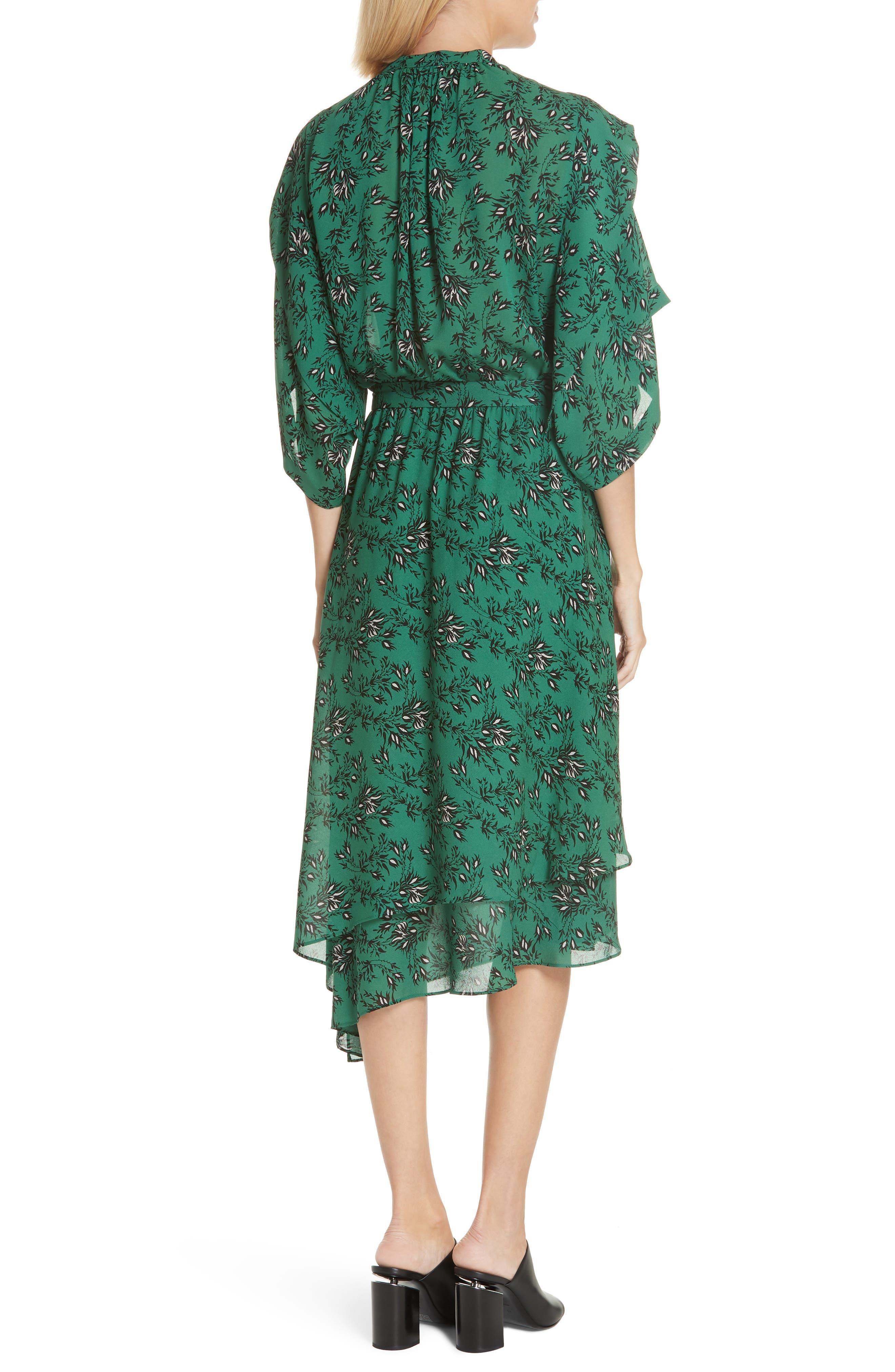 Japanese Floral Midi Dress,                             Alternate thumbnail 2, color,                             EMERALD ORCHID