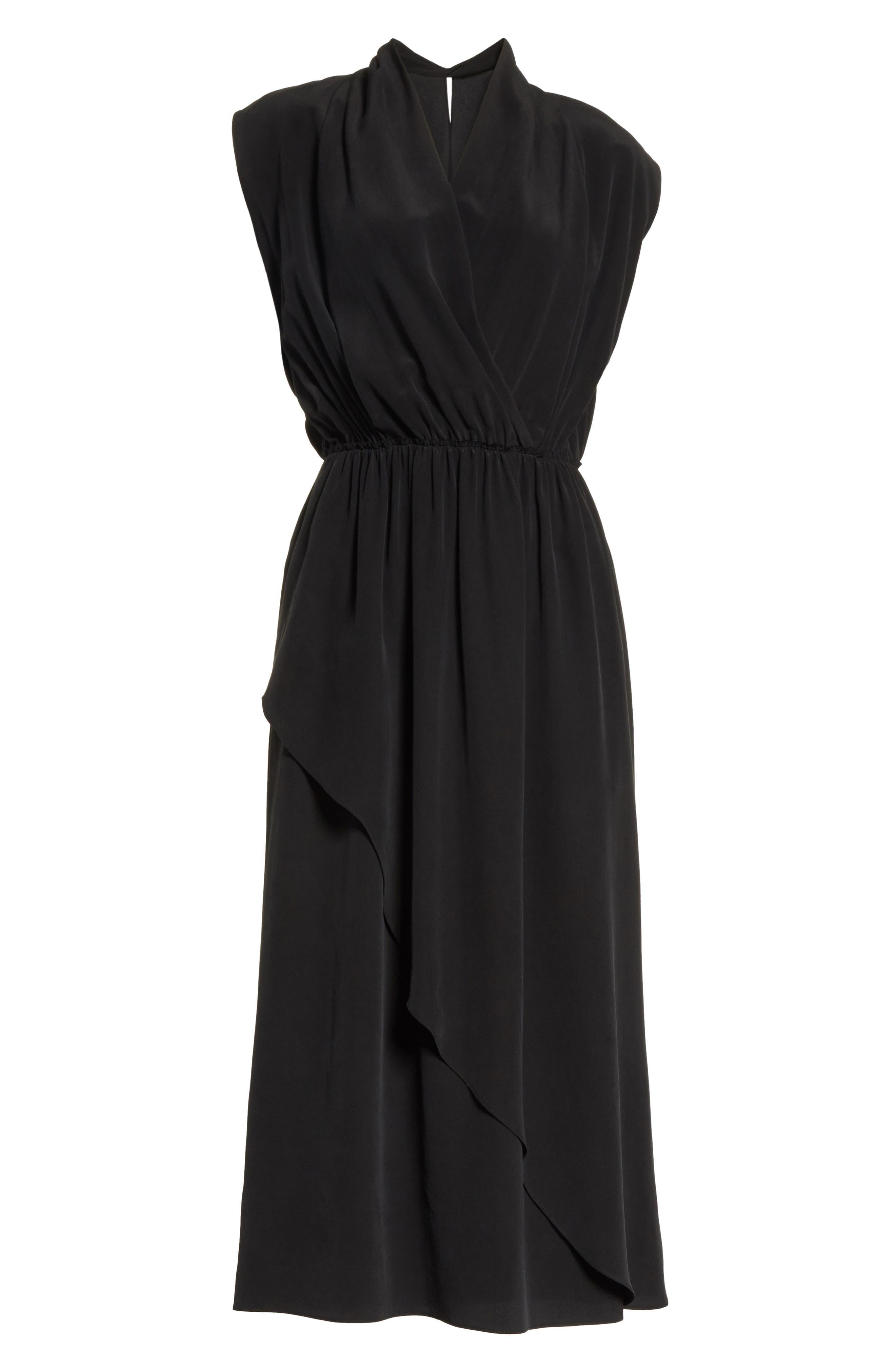 VINCE,                             Draped Silk Cross Front Dress,                             Alternate thumbnail 6, color,                             001