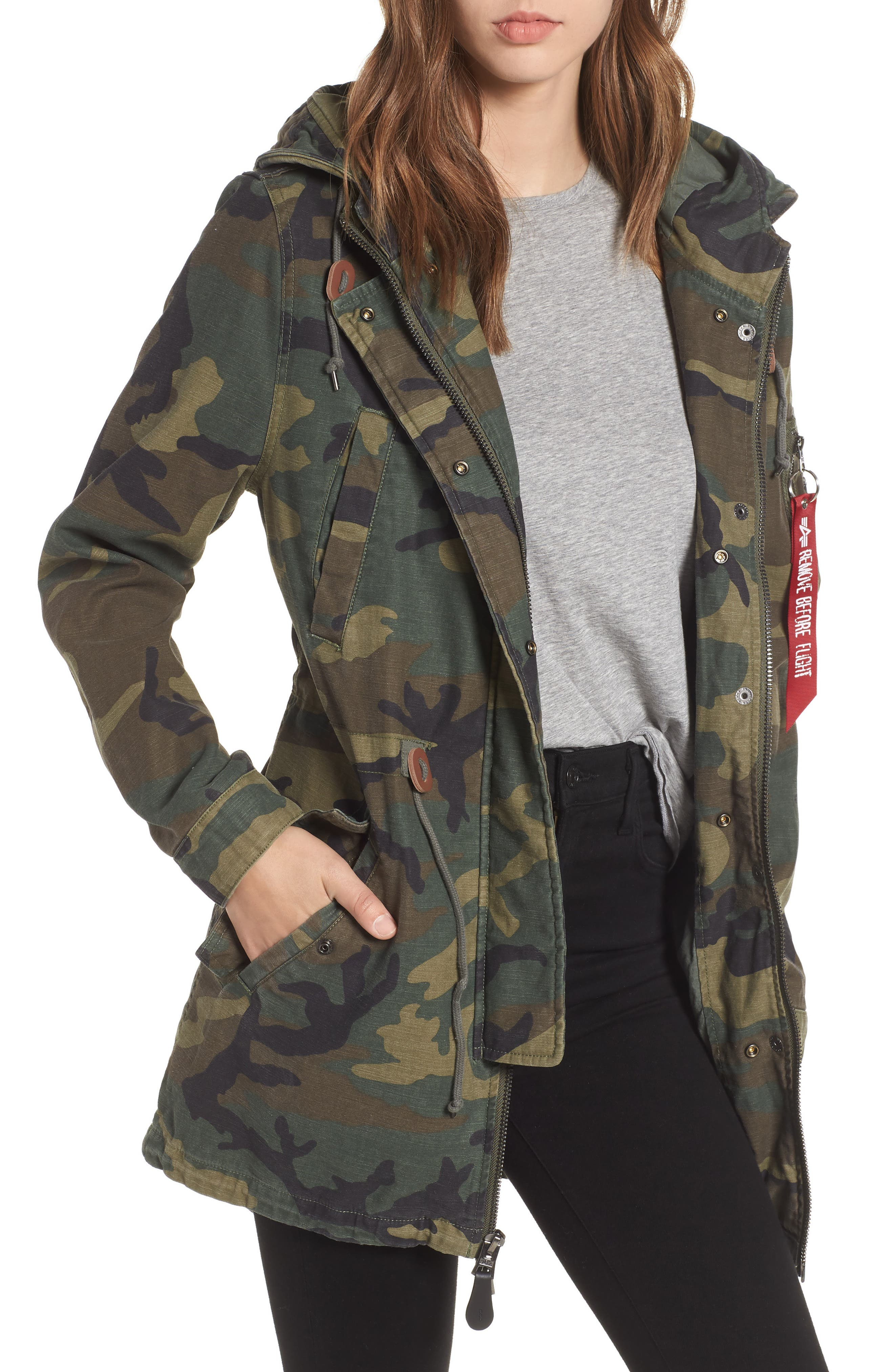 ALPHA INDUSTRIES Meri Fishtail Hem Field Jacket, Main, color, 303