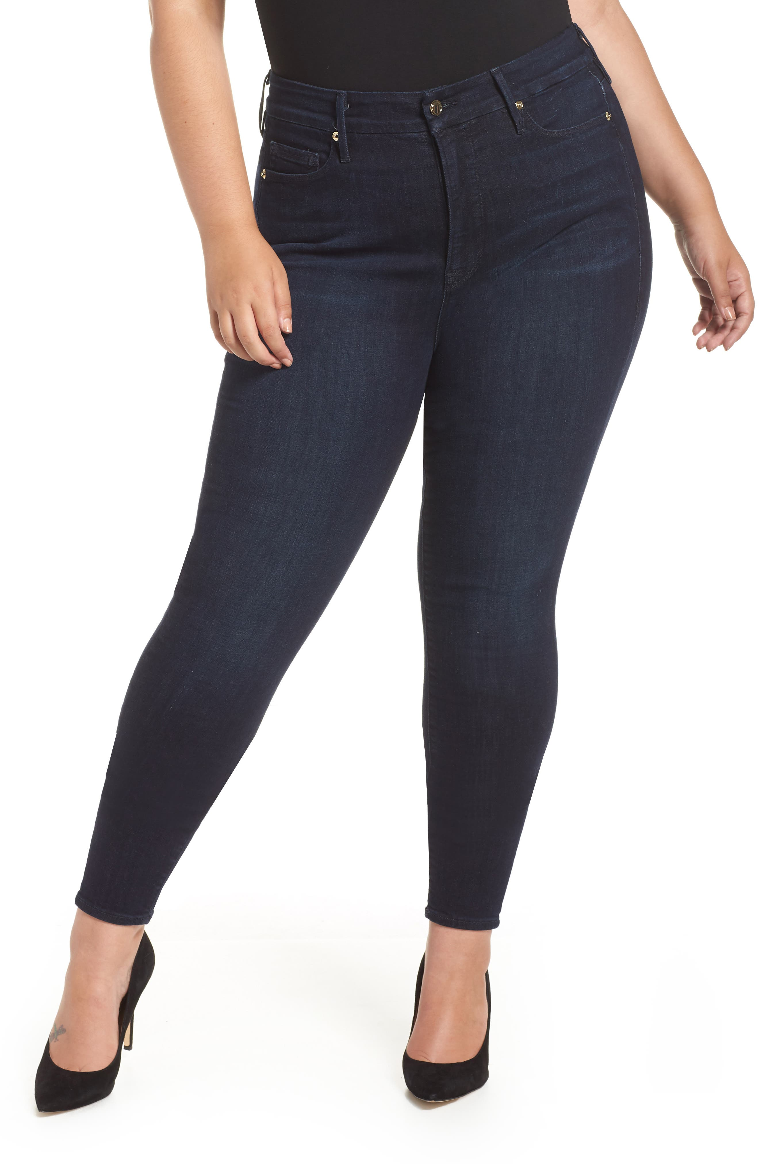 GOOD AMERICAN,                             Good Legs High Waist Skinny Jeans,                             Alternate thumbnail 2, color,                             BLUE224