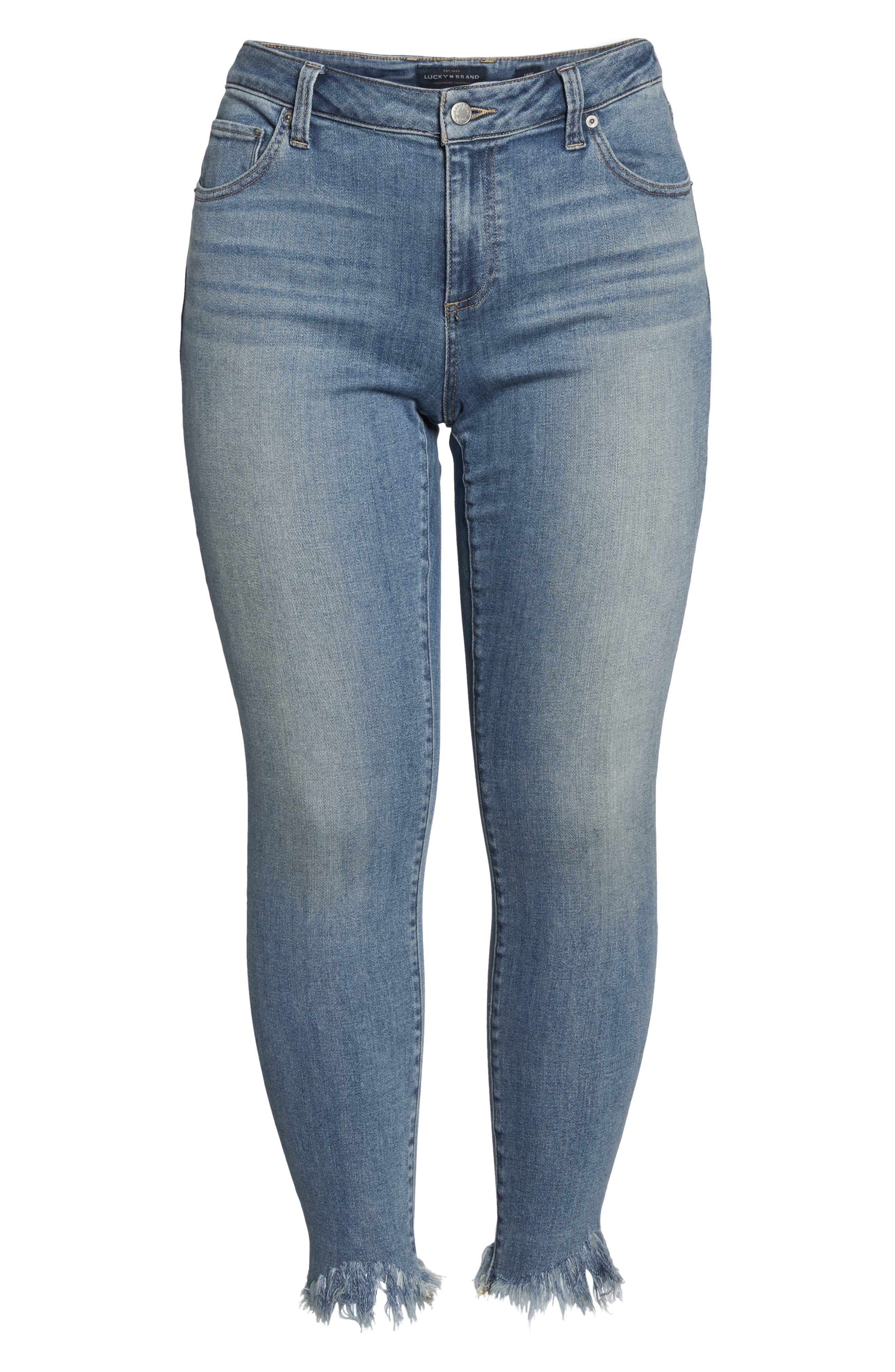 LUCKY BRAND,                             Ginger Fringed Hem Skinny Jeans,                             Alternate thumbnail 7, color,                             400