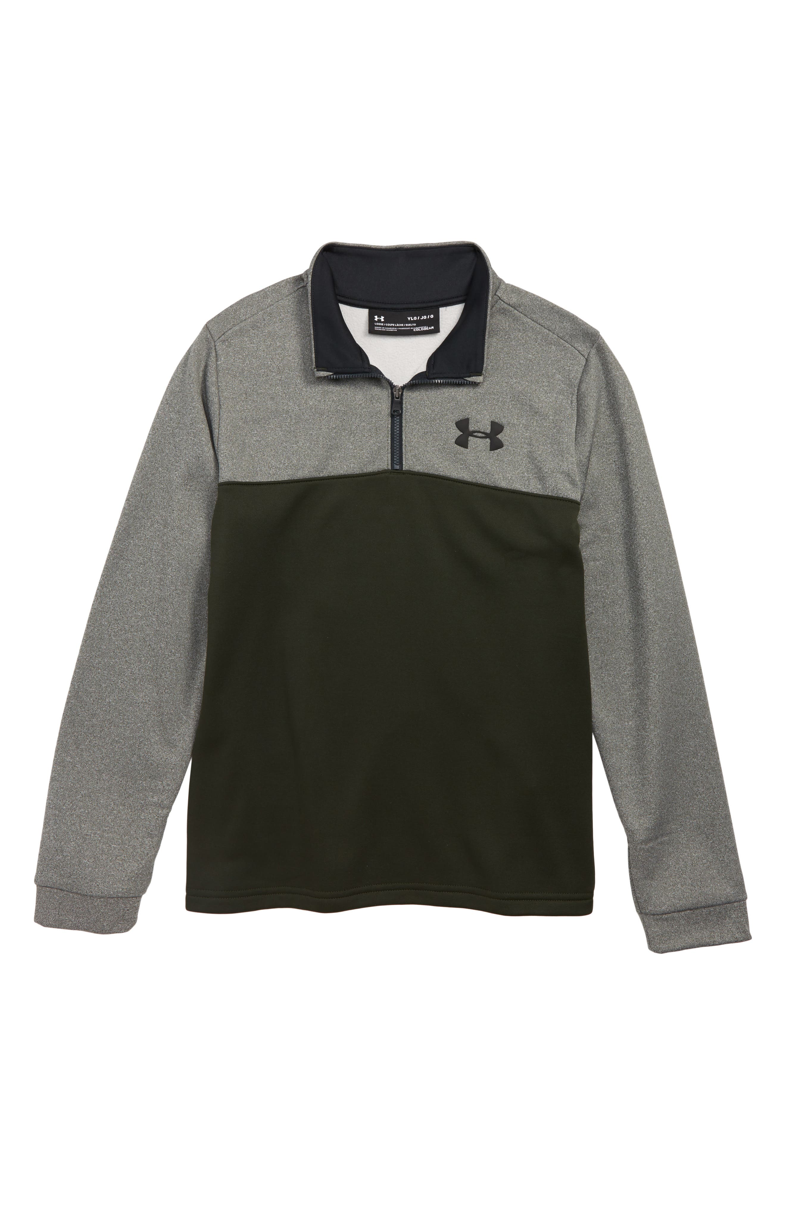 Performance Quarter Zip Pullover,                         Main,                         color, GREEN/ BLACK