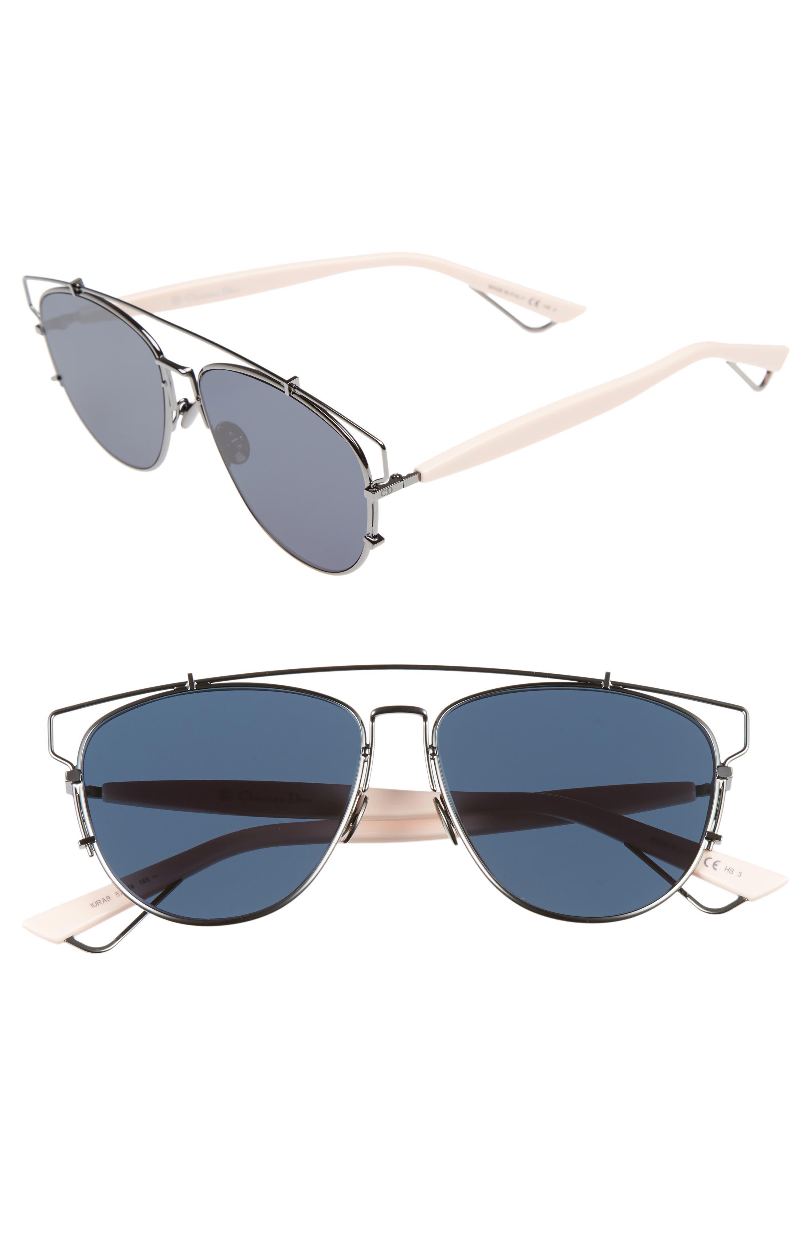 Technologic 57mm Brow Bar Sunglasses,                             Main thumbnail 6, color,