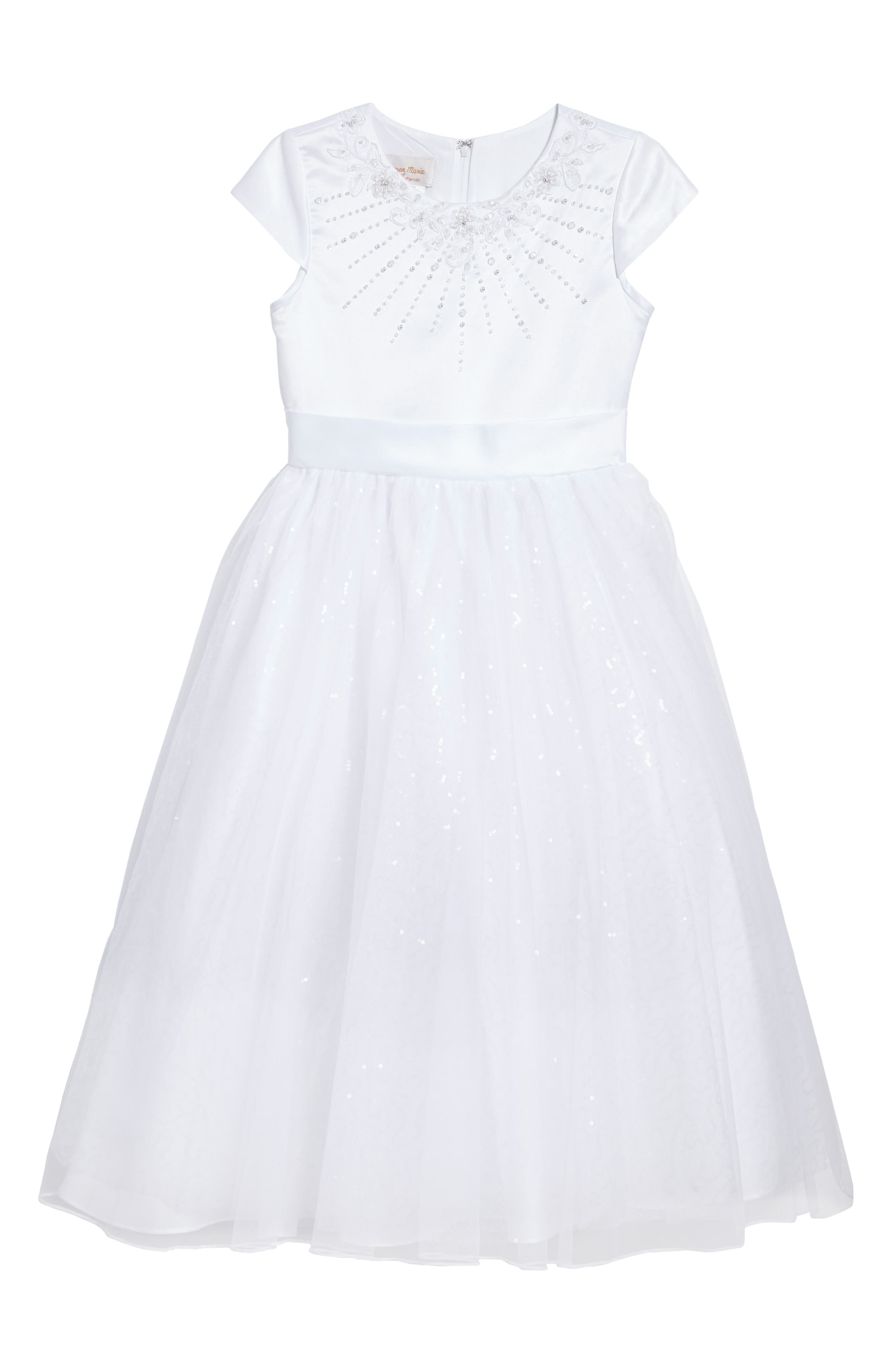 Beaded First Communion Dress,                             Main thumbnail 1, color,