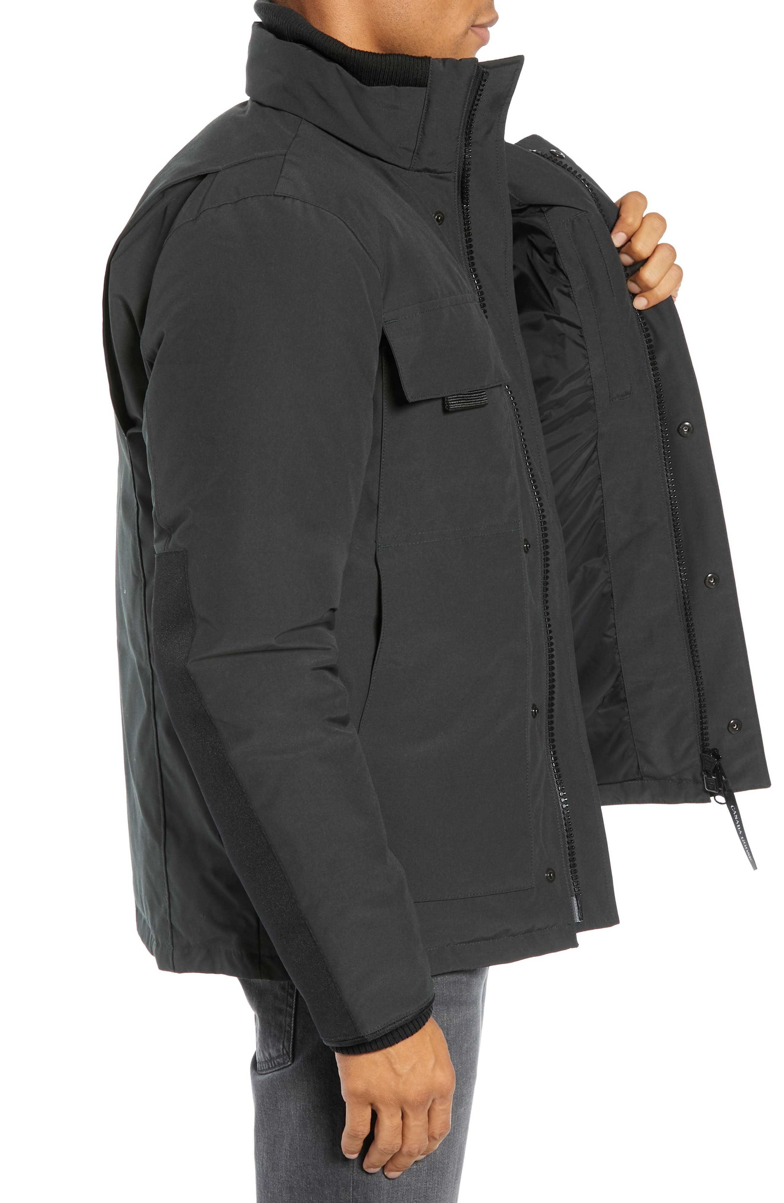 CANADA GOOSE,                             Forester Slim Fit Jacket,                             Alternate thumbnail 3, color,                             BLACK