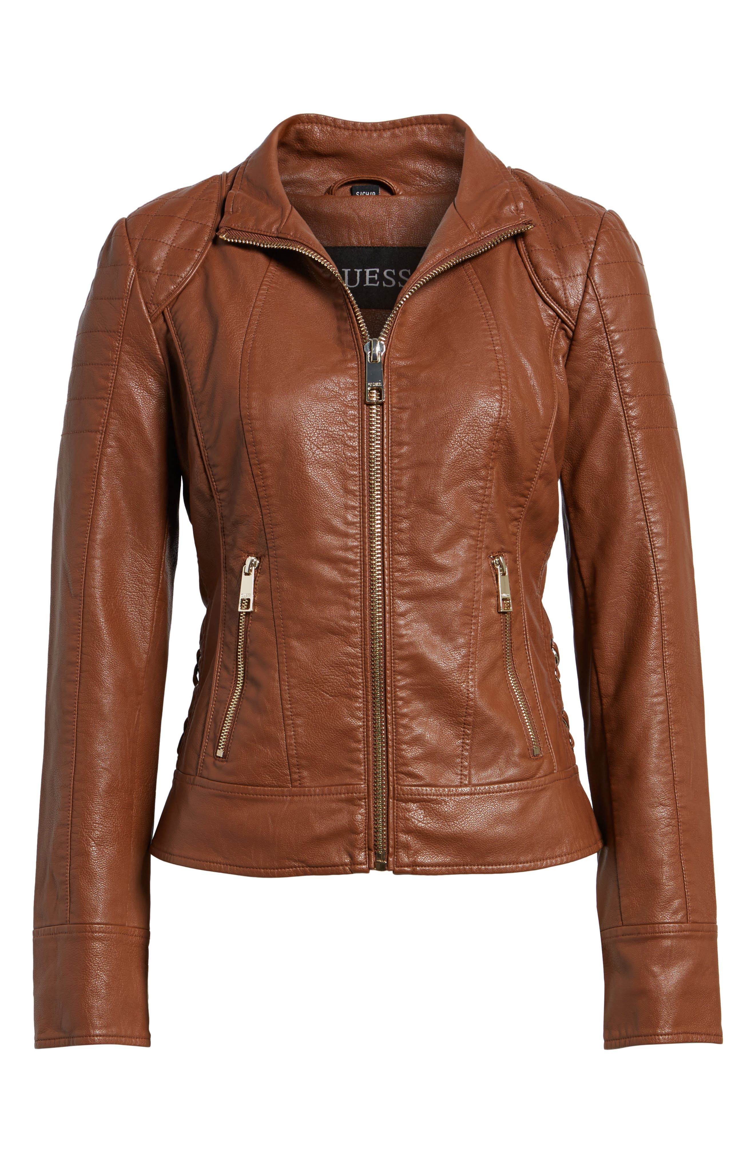 Side Lace Faux Leather Jacket,                             Alternate thumbnail 11, color,