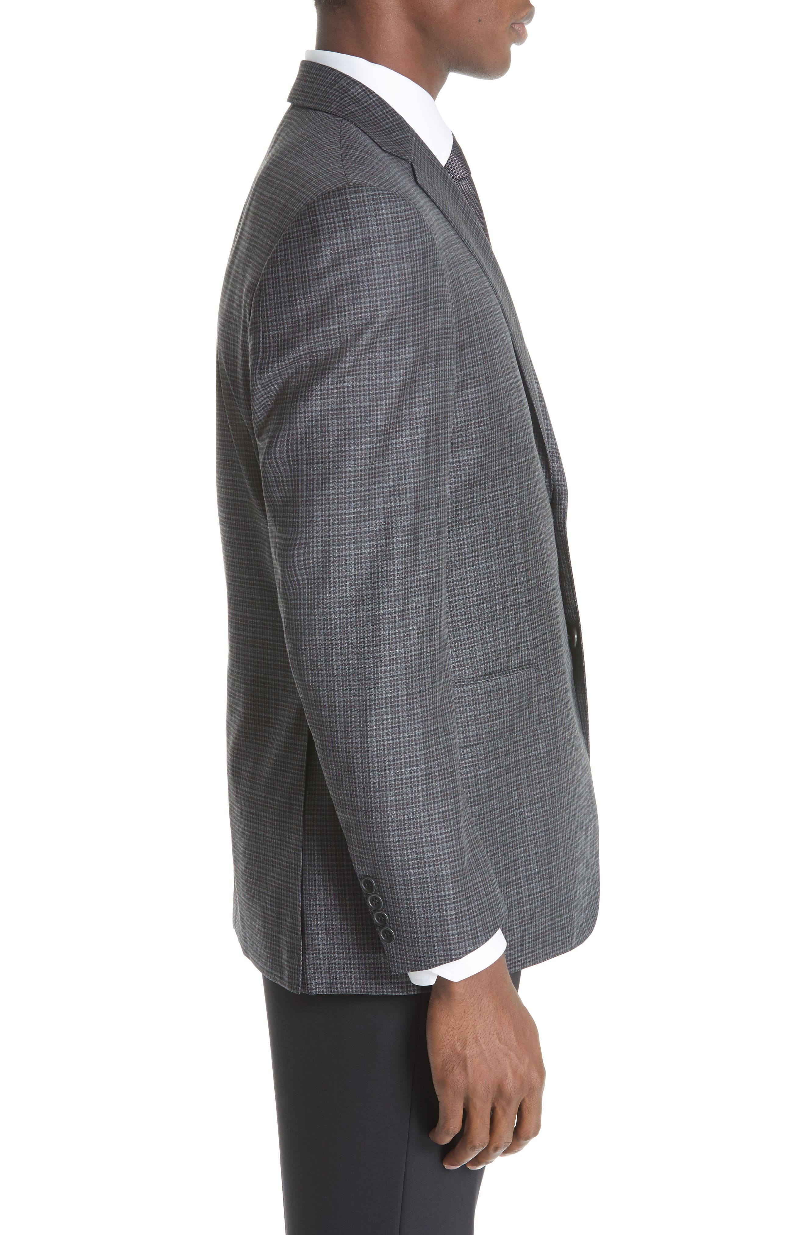 Classic Fit Check Wool Sport Coat,                             Alternate thumbnail 3, color,                             DARK GREY