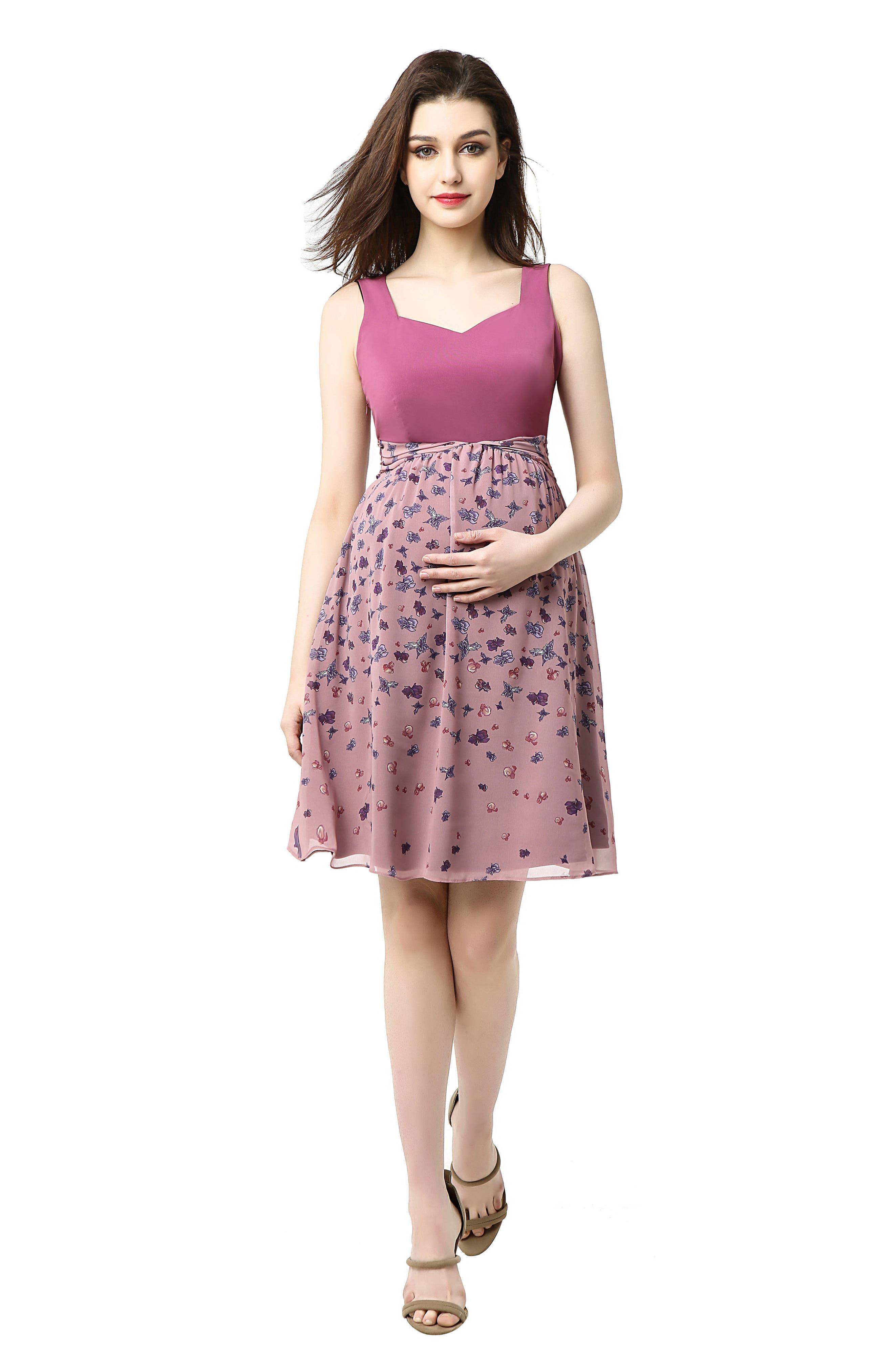 Libby Print Skirt Maternity Dress,                             Alternate thumbnail 5, color,                             ROSE PINK