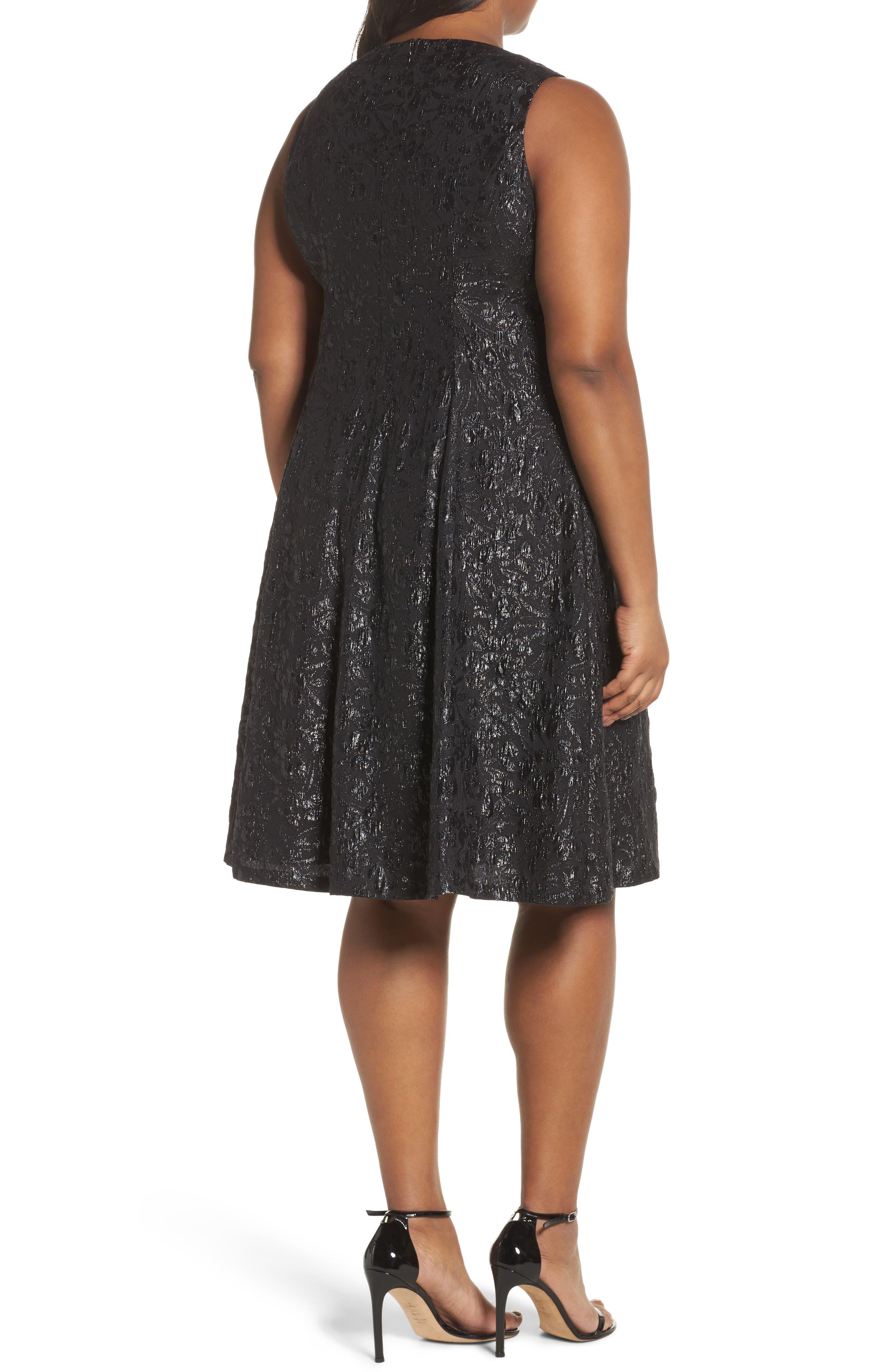 Beaded Neck Fit & Flare Dress,                             Alternate thumbnail 2, color,                             BLACK