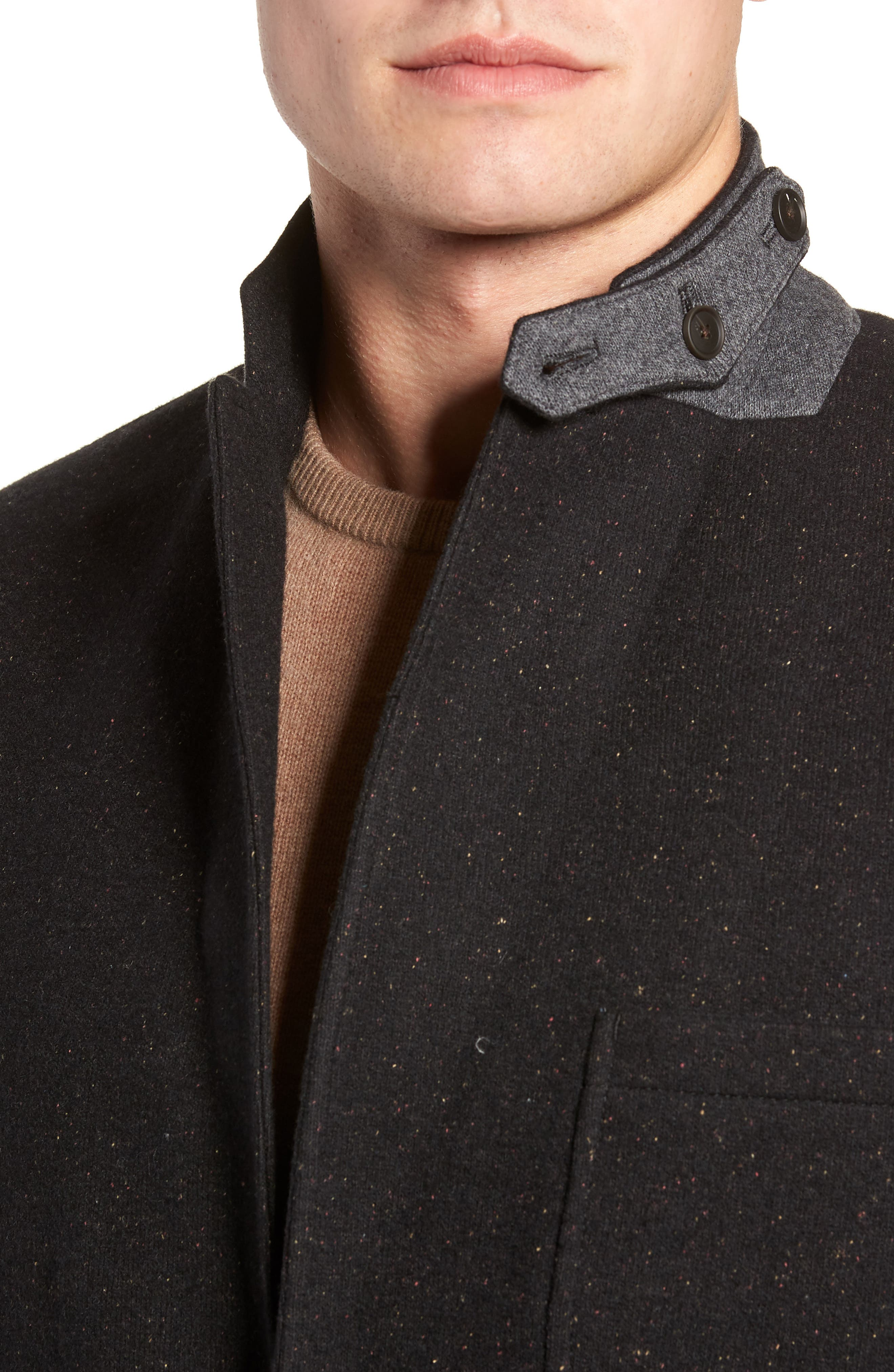 White Solid Cotton Blend Sport Coat,                             Alternate thumbnail 4, color,                             BLACK