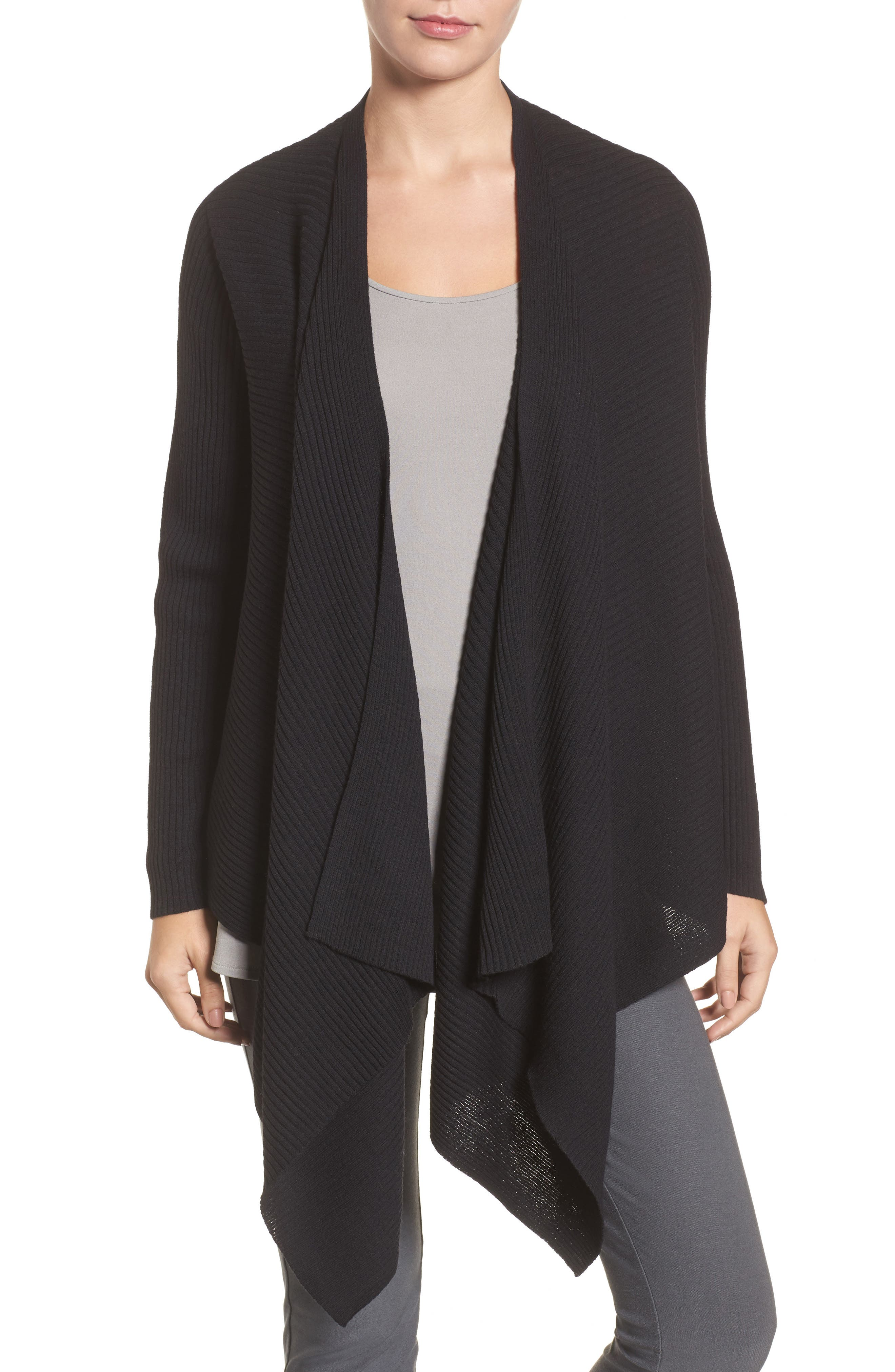 Drape Front Wool Cardigan,                         Main,                         color, 001