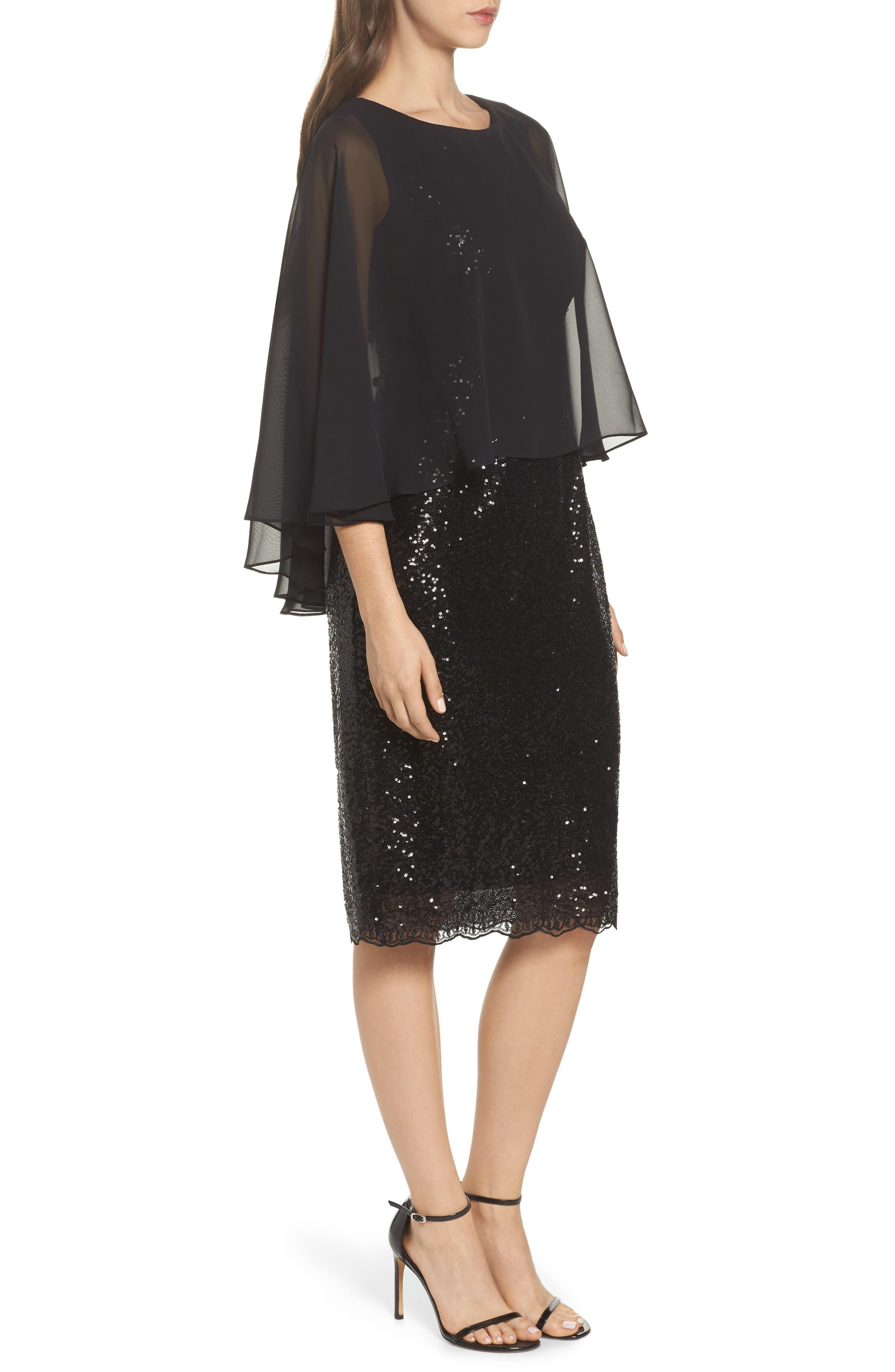 Capelet Sequin Shift Dress,                             Alternate thumbnail 3, color,                             001