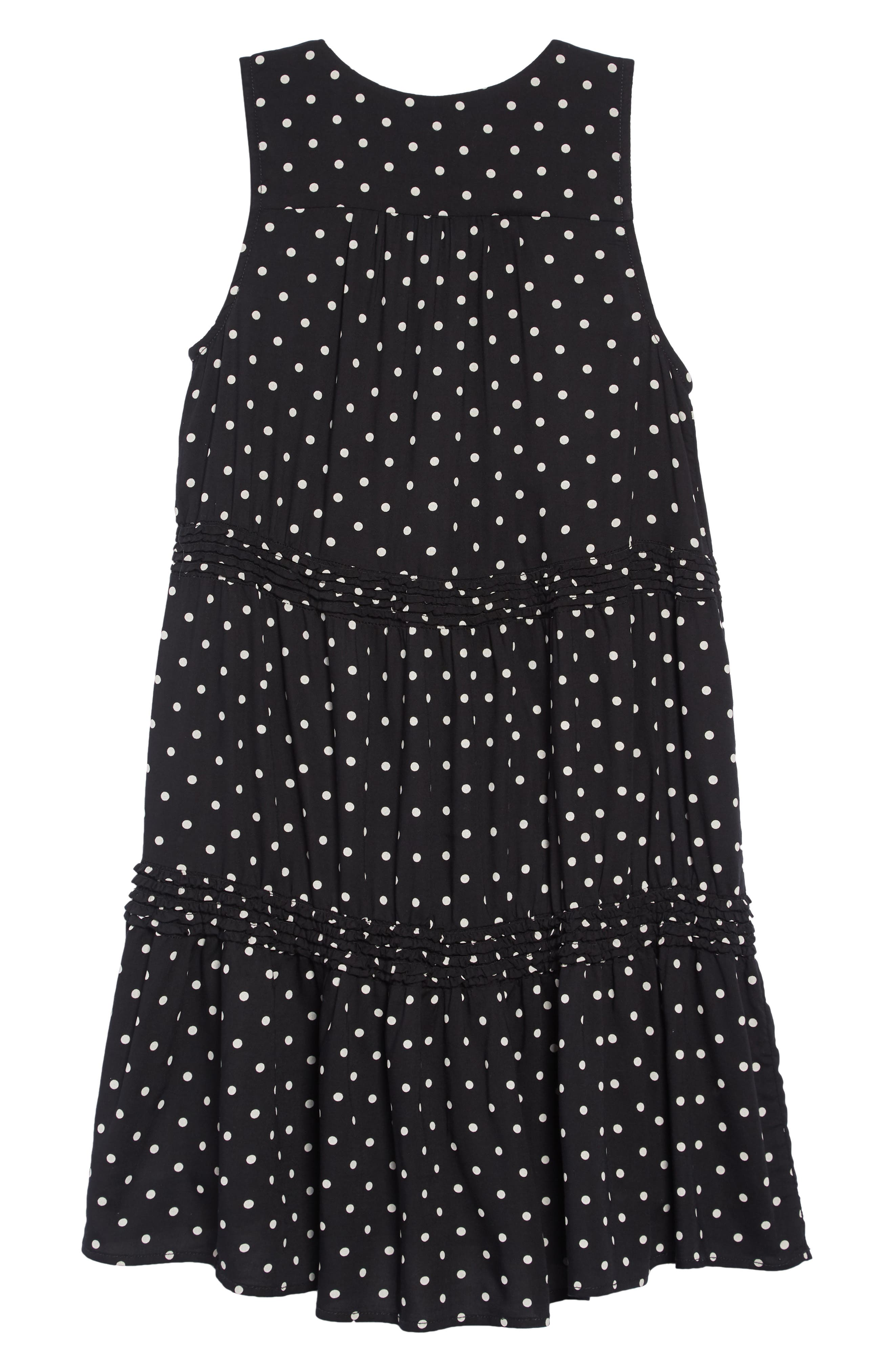 Tiered Print Dress,                             Alternate thumbnail 2, color,                             BLACK- WHITE DOT