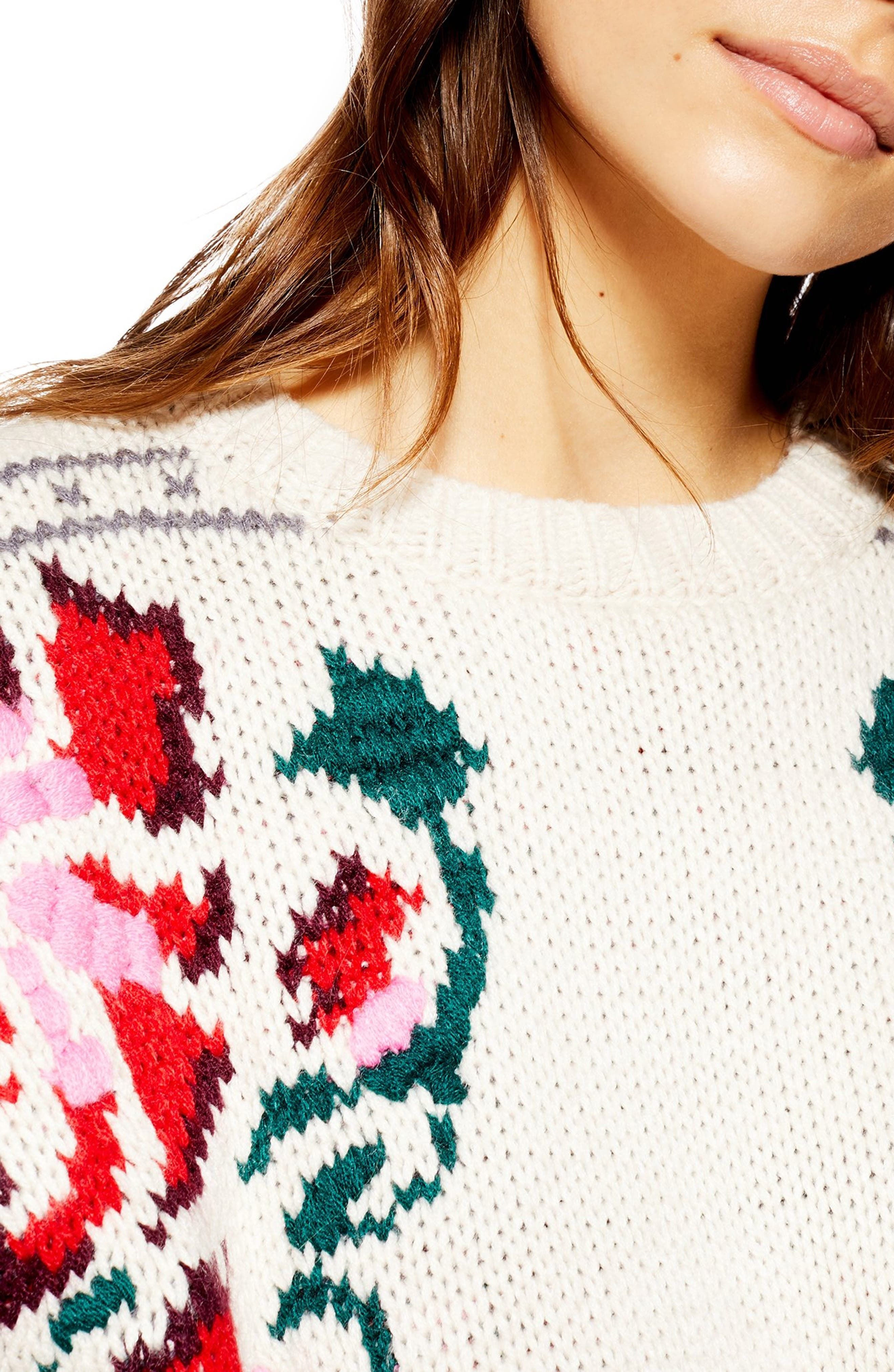 Floral Border Embroidered Sweater,                             Alternate thumbnail 3, color,                             IVORY MULTI