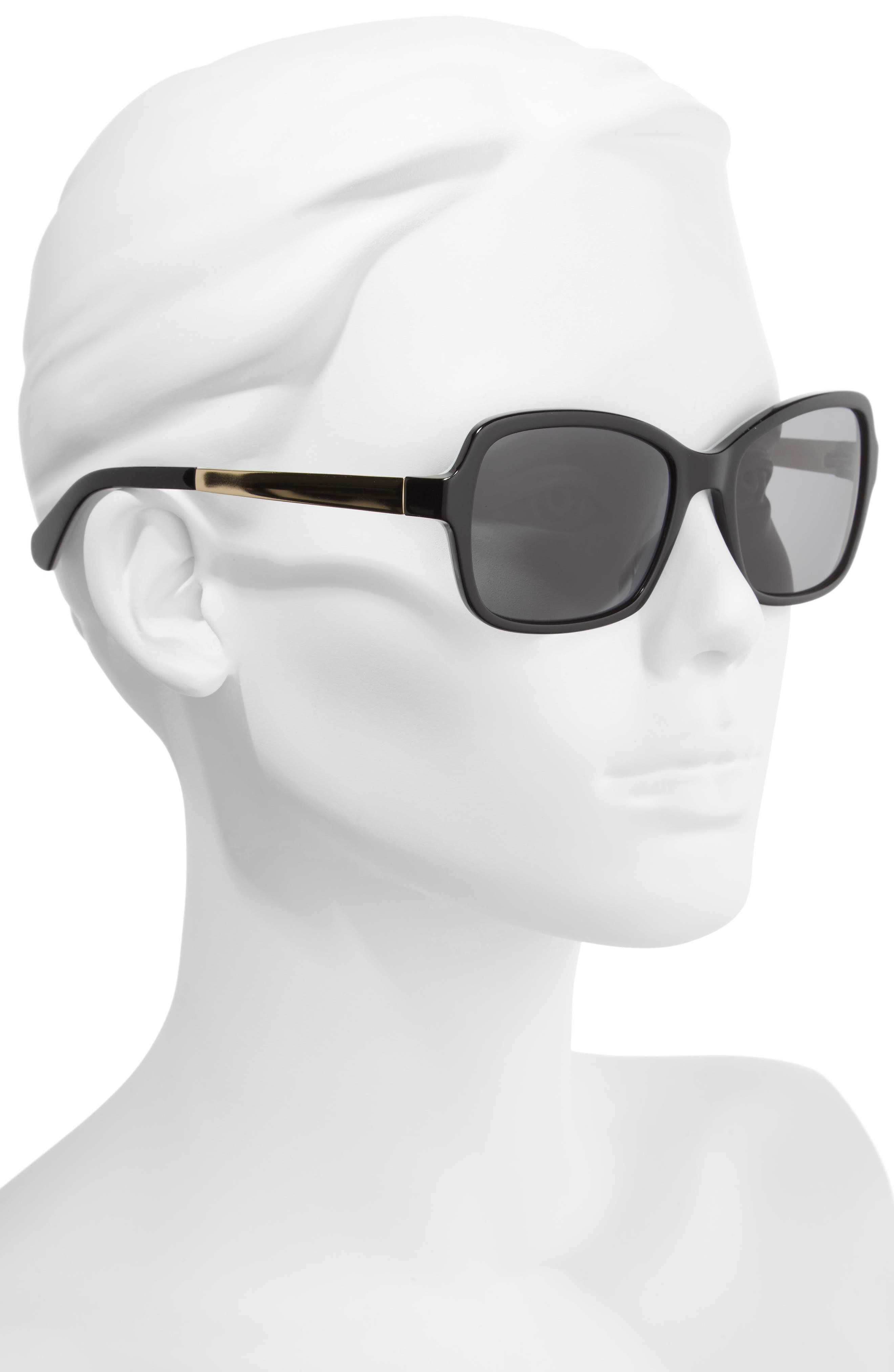 annjanette 55mm polarized sunglasses,                             Alternate thumbnail 2, color,                             BLACK