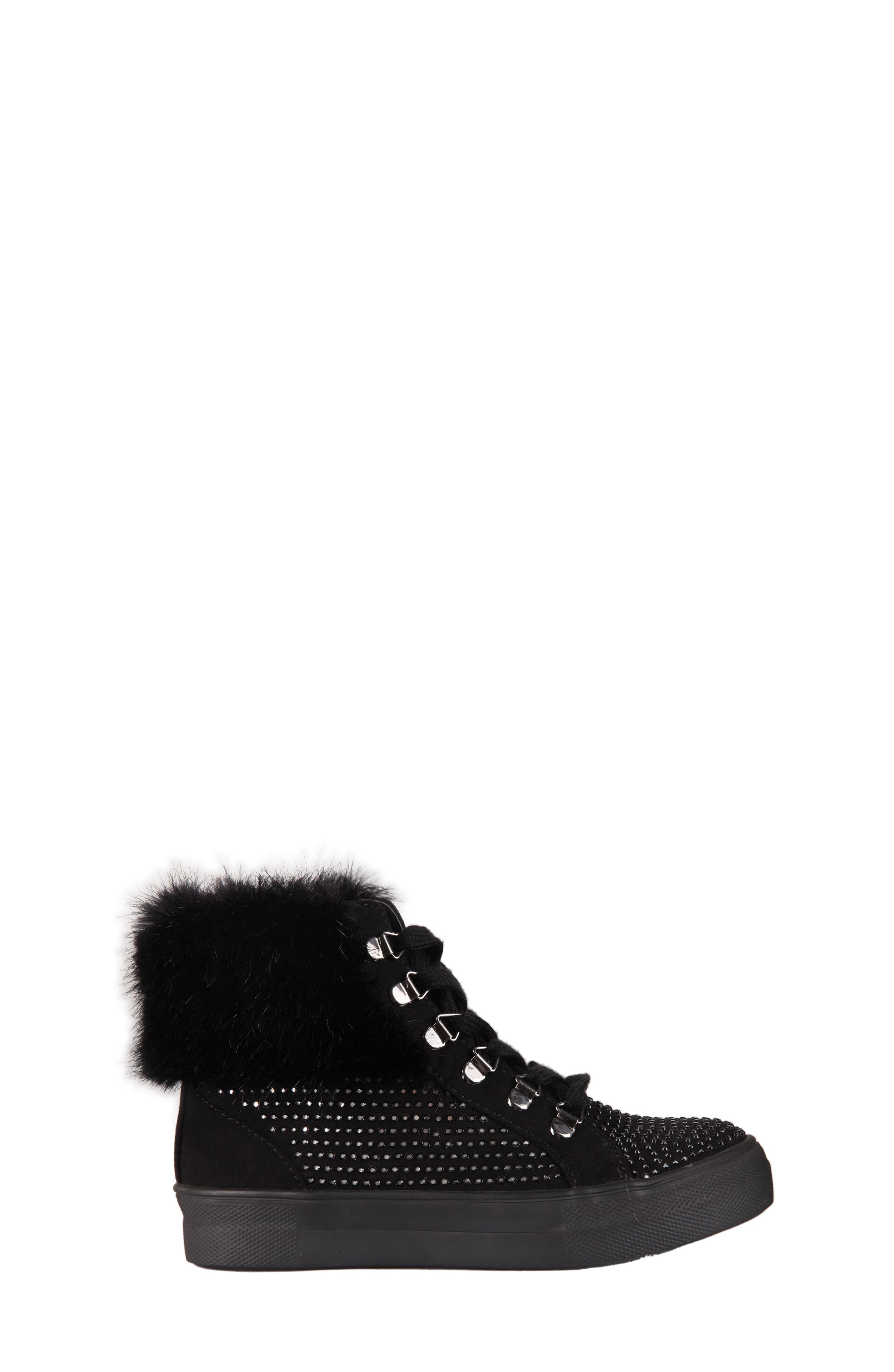 Randi Studded Faux Fur High Top,                             Alternate thumbnail 3, color,                             007